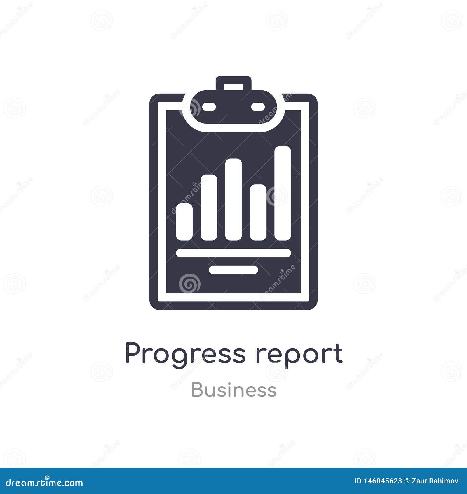 Icono del esquema del informe sobre los progresos l?nea aislada ejemplo del vector de la colecci?n del negocio informe sobre los