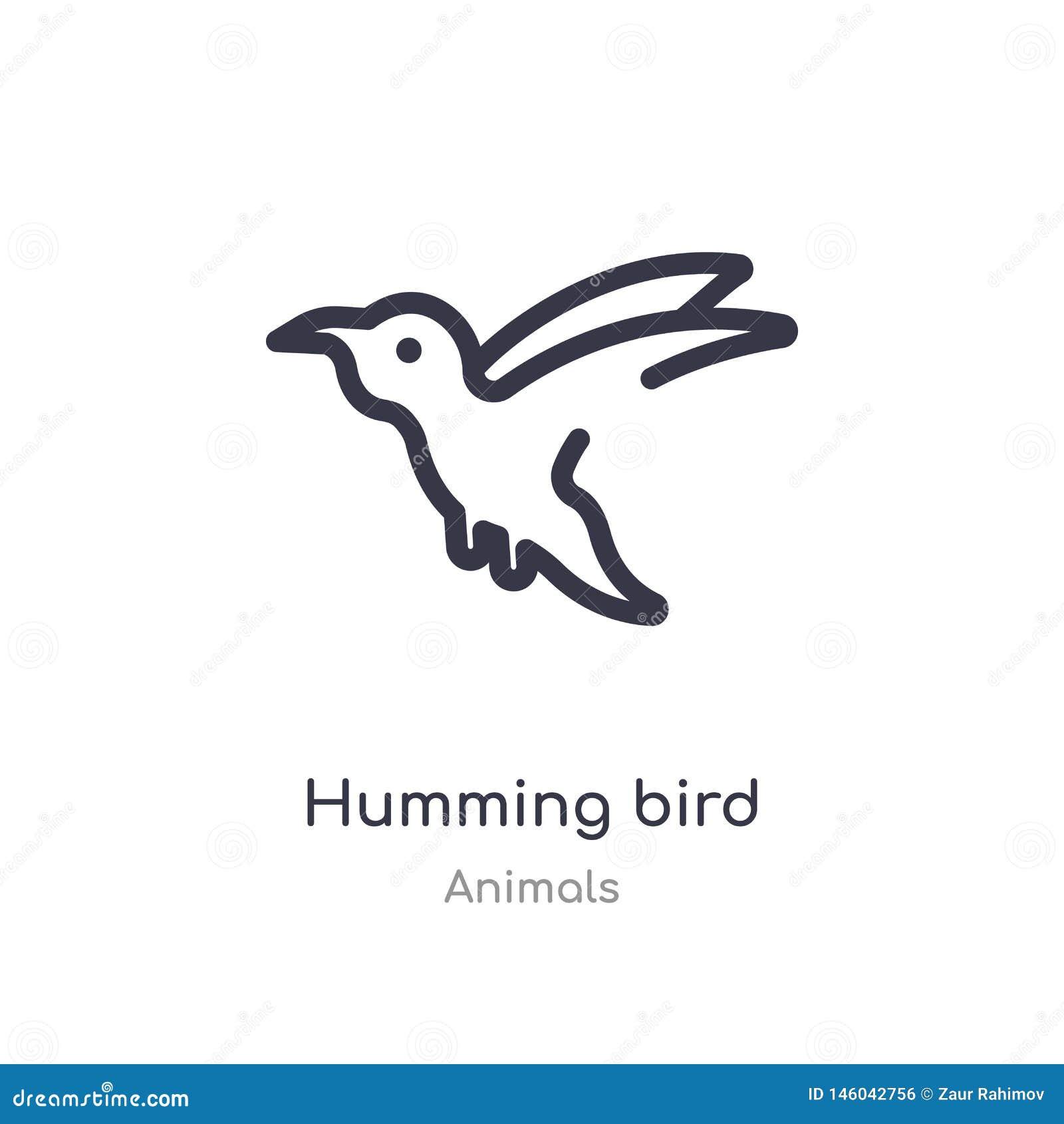 Icono del esquema del pájaro del tarareo l?nea aislada ejemplo del vector de la colecci?n de los animales icono fino editable del