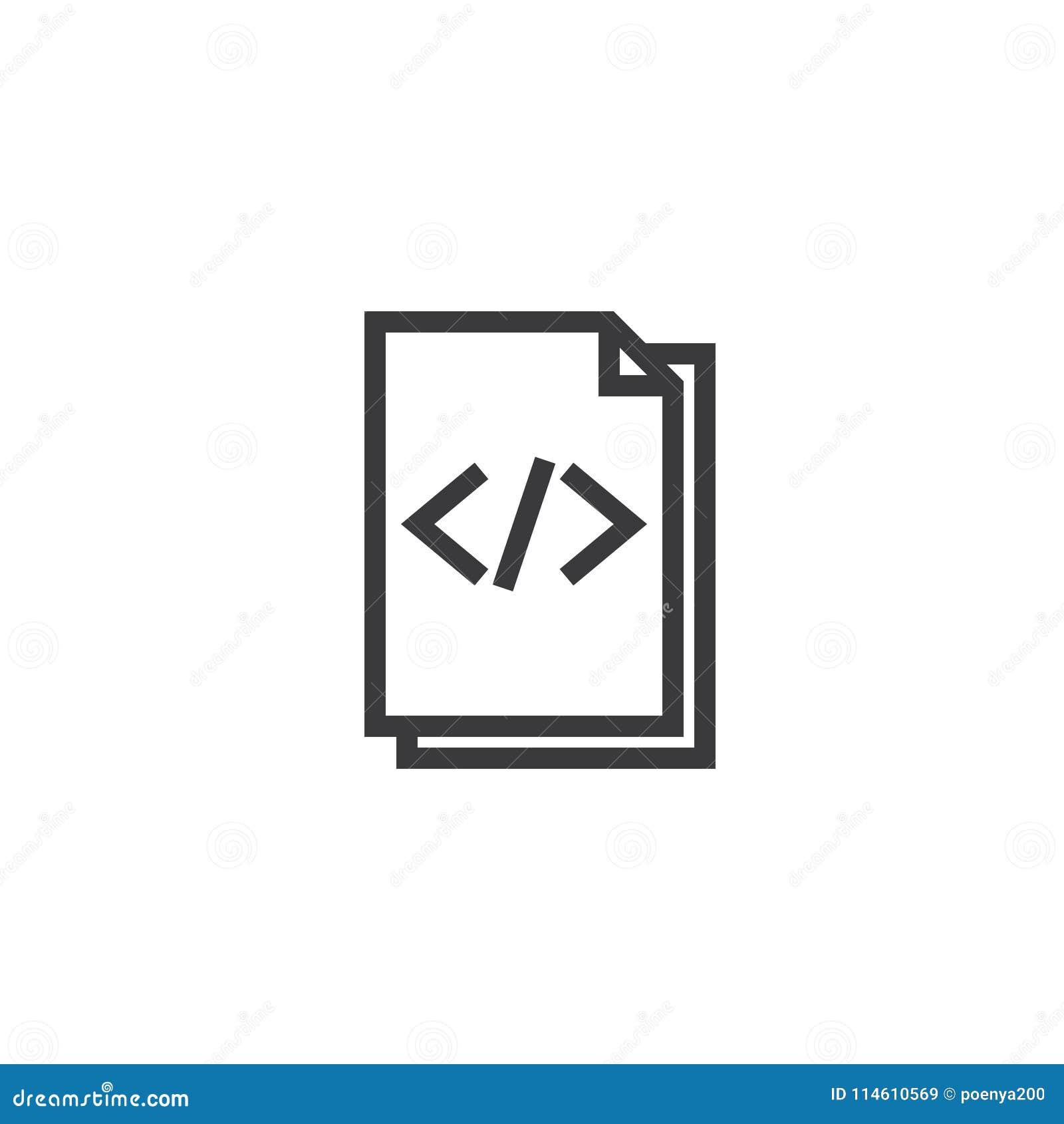 Icono del esquema del papel del documento del HTML icono aislado del papel de nota en la línea estilo fina para el gráfico y el d