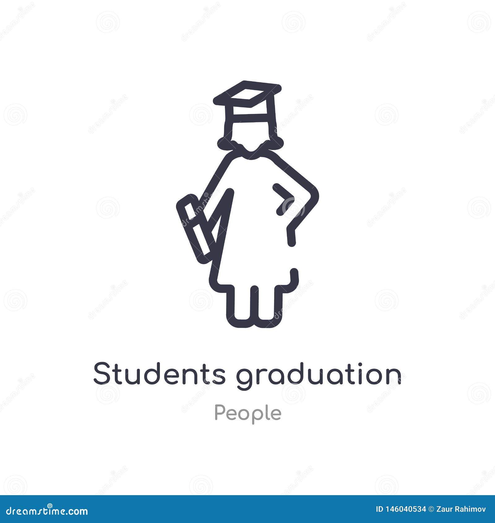 Icono del esquema del sombrero de la graduación de los estudiantes l?nea aislada ejemplo del vector de la colecci?n de la gente e