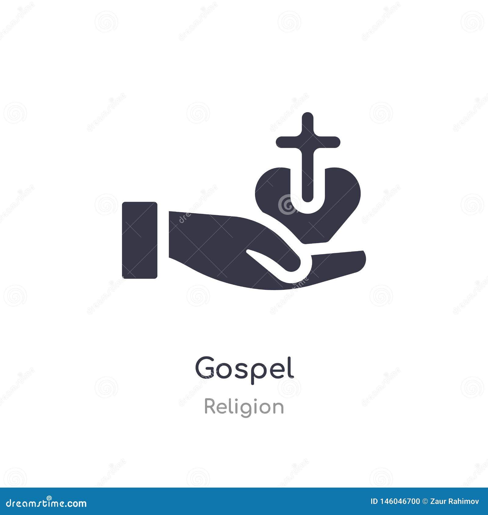 Icono del evangelio ejemplo aislado del vector del icono del evangelio de la colección de la religión editable cante el s?mbolo p