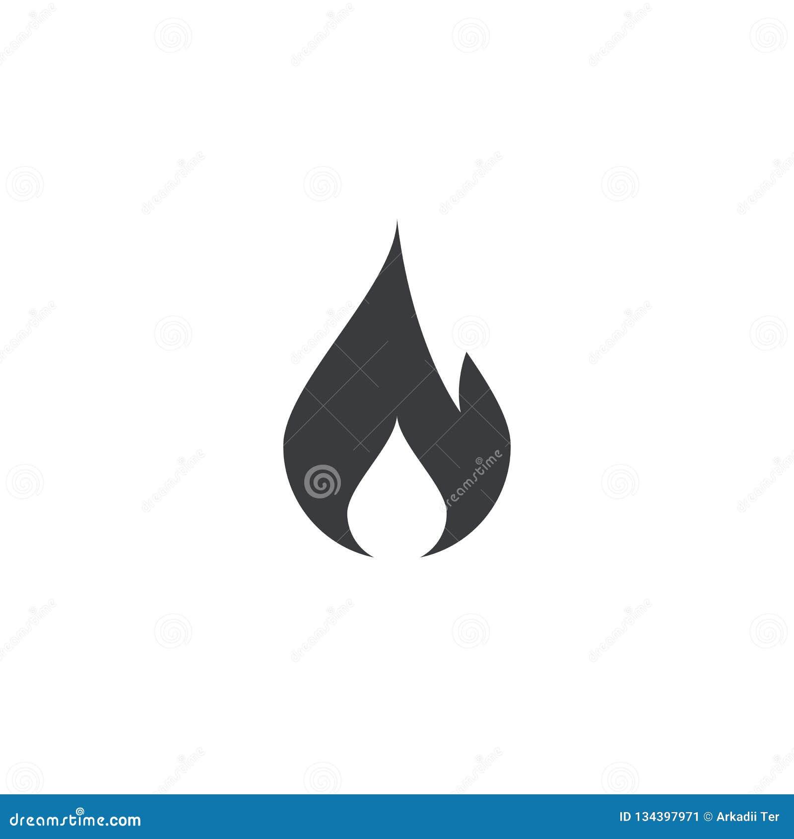 Icono del fuego forma del fuego Engrana el icono Símbolo de la llama Muestra de la quemadura Botón de la tendencia Elemento para