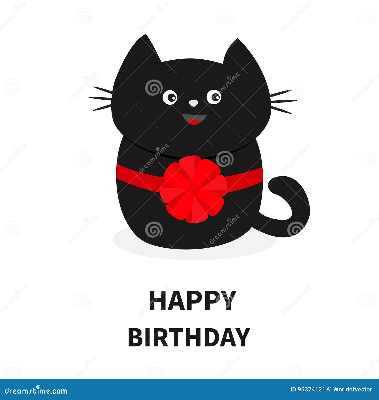 Icono Del Gato Negro Con El Arco Rojo Redondo Personaje De Dibujos
