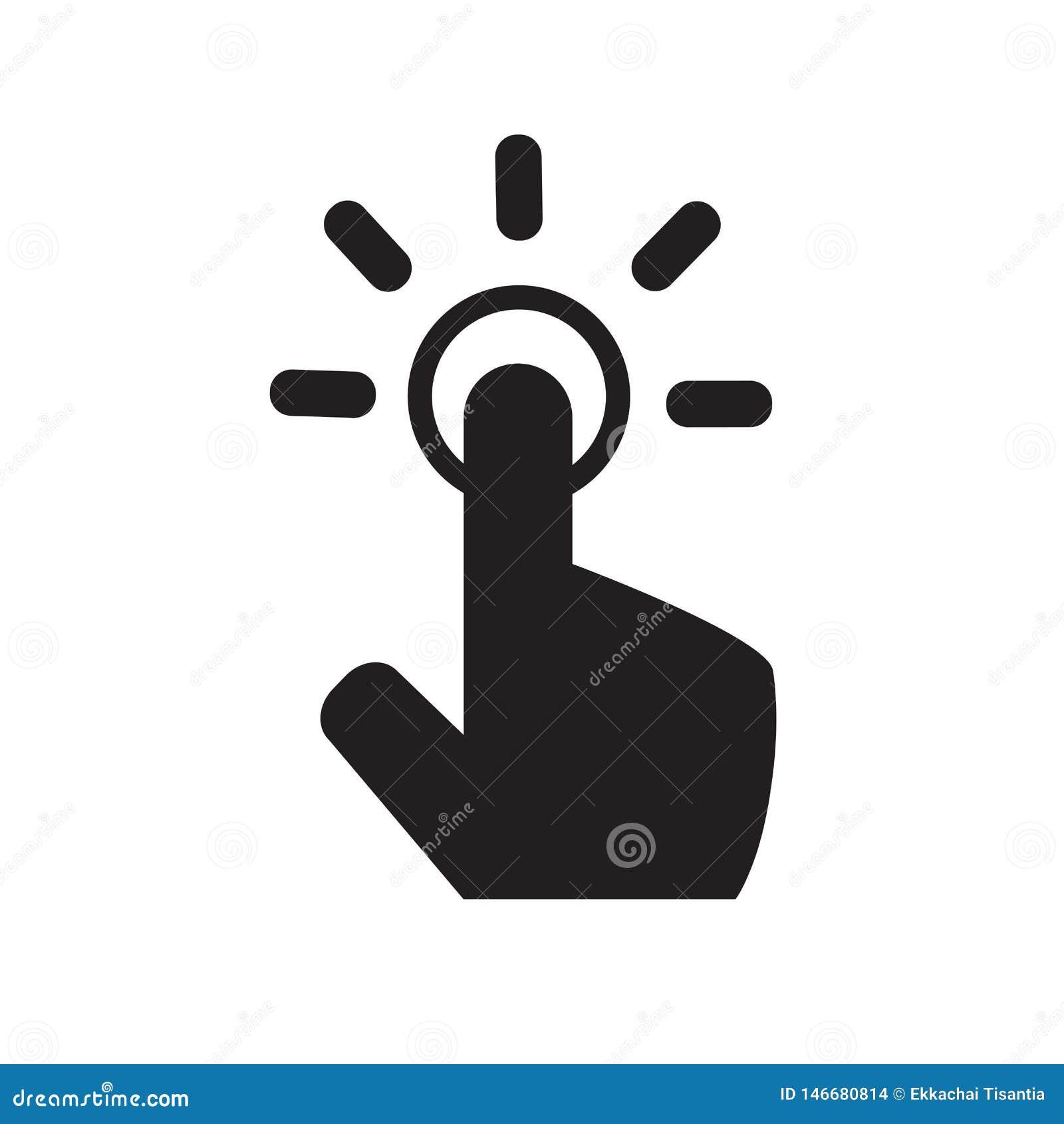 Icono del gesto del tacto Icono de la mano icono del cursor de la pantalla táctil Un tecleo