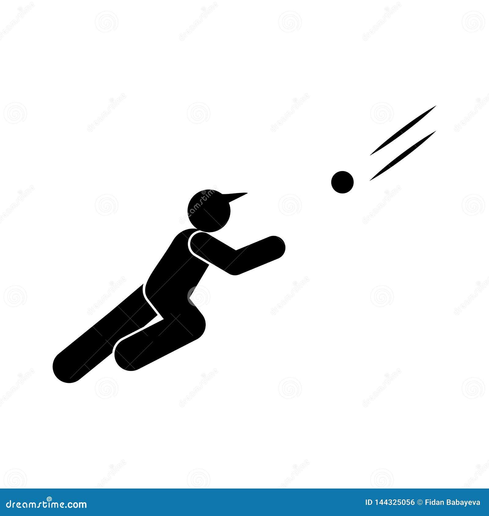 Icono del glyph de la persona del bateador del b?isbol Elemento del icono del ejemplo del deporte del b?isbol Las muestras y los