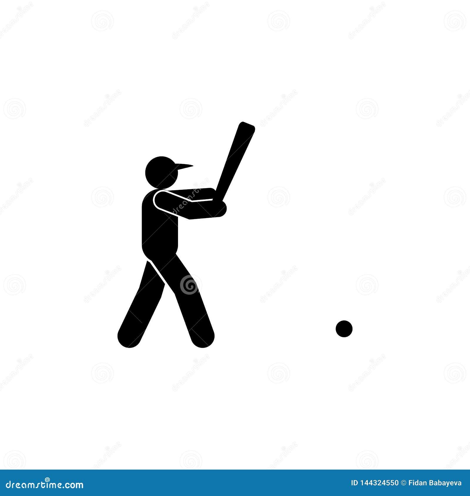 Icono del glyph del golpe del hombre del b?isbol Elemento del icono del ejemplo del deporte del b?isbol r