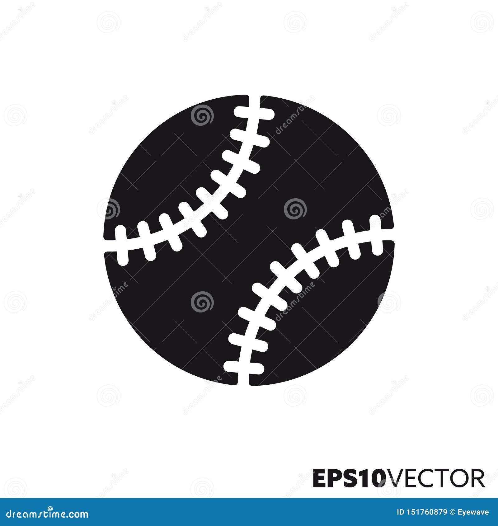 Icono del glyph del vector de la bola del béisbol