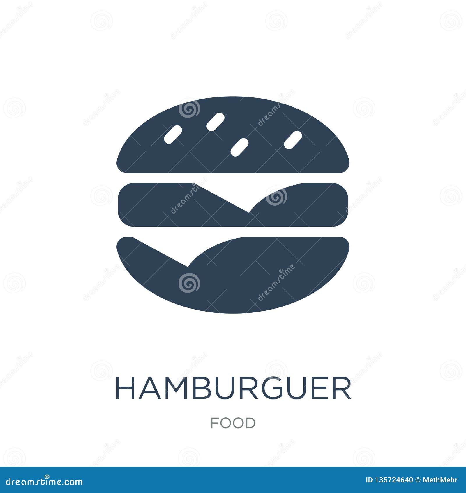 Icono del hamburguer en estilo de moda del diseño icono del hamburguer aislado en el fondo blanco icono del vector del hamburguer