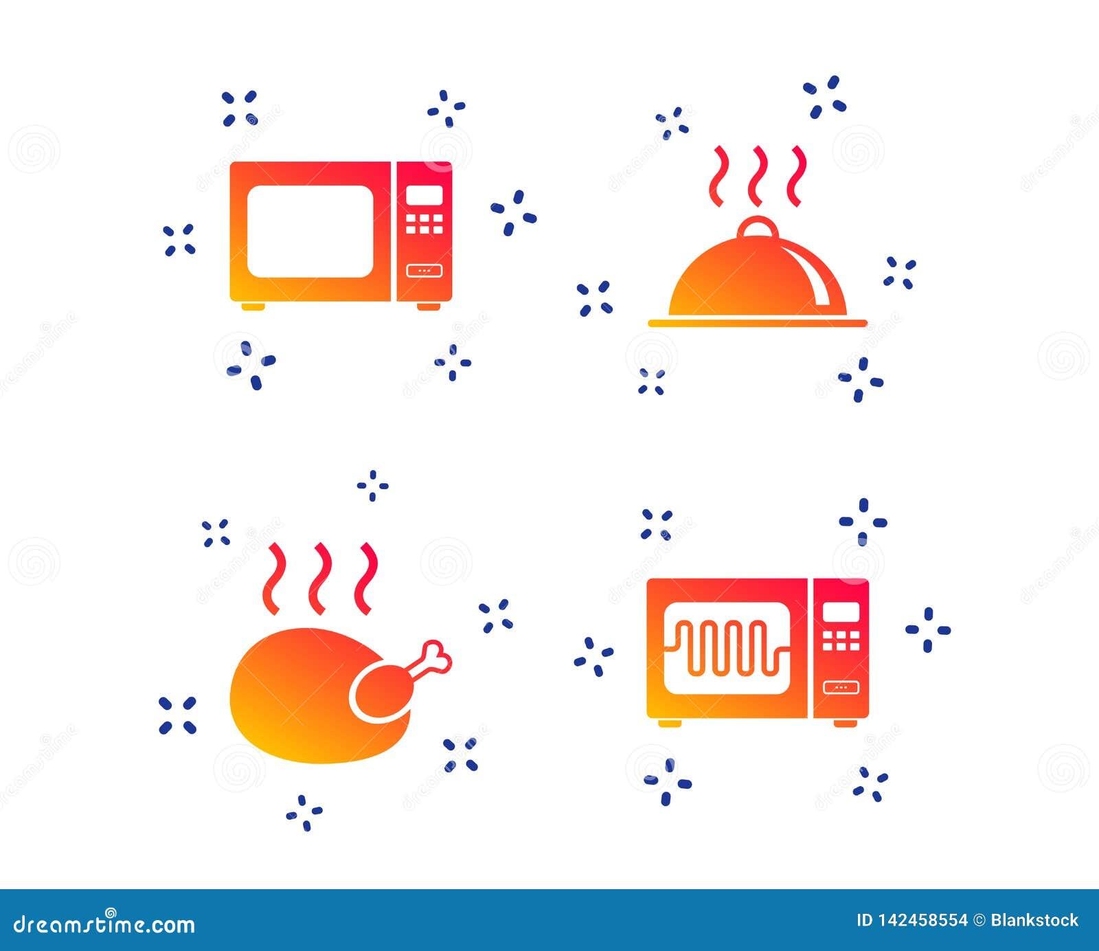 Icono del horno de microondas Cocinar la porción de la comida Vector