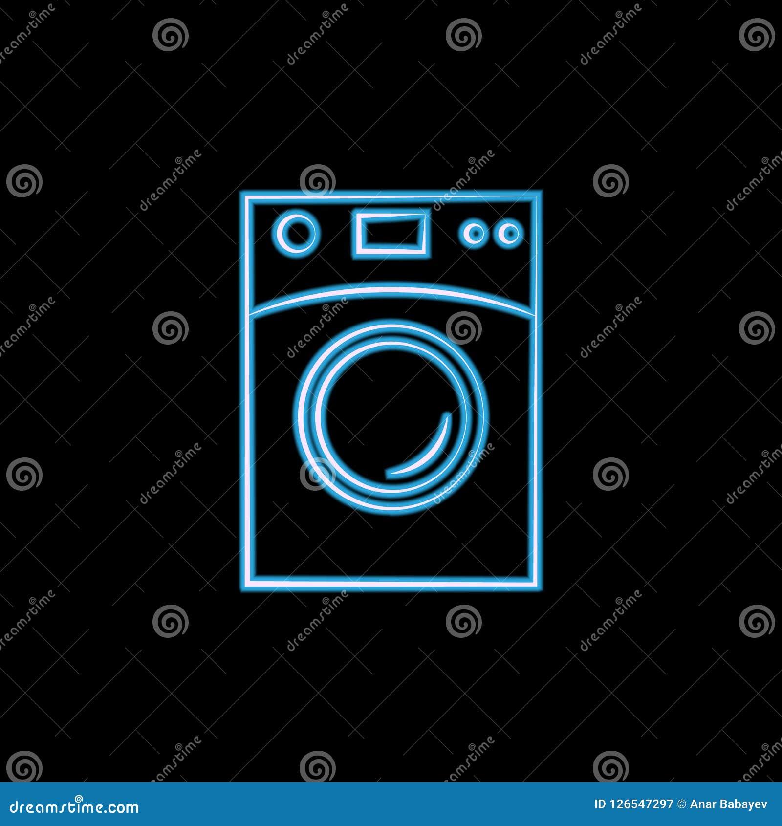 Icono del horno de microondas en el estilo de neón Uno del logotipo del icono de la colección de los artículos del elctricity se