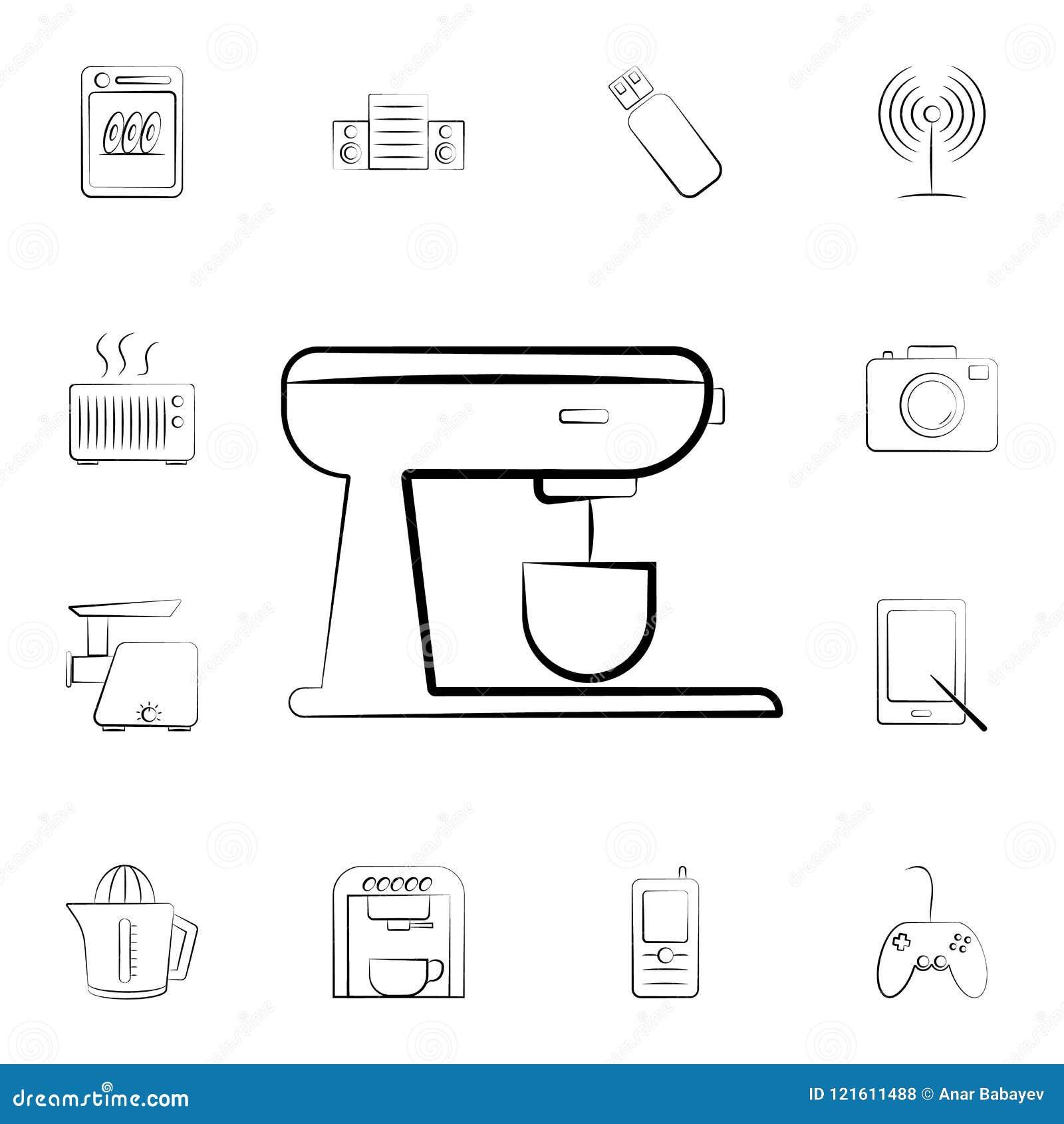 Icono del horno Sistema detallado de los aparatos electrodomésticos Diseño gráfico superior Uno de los iconos de la colección par