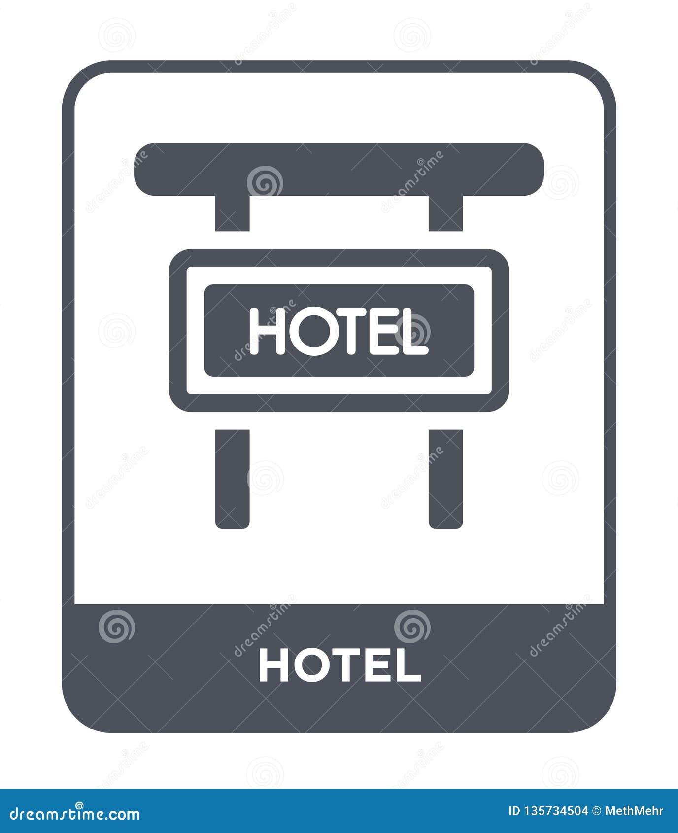 Icono del hotel en estilo de moda del diseño Icono del hotel aislado en el fondo blanco símbolo plano simple y moderno del icono