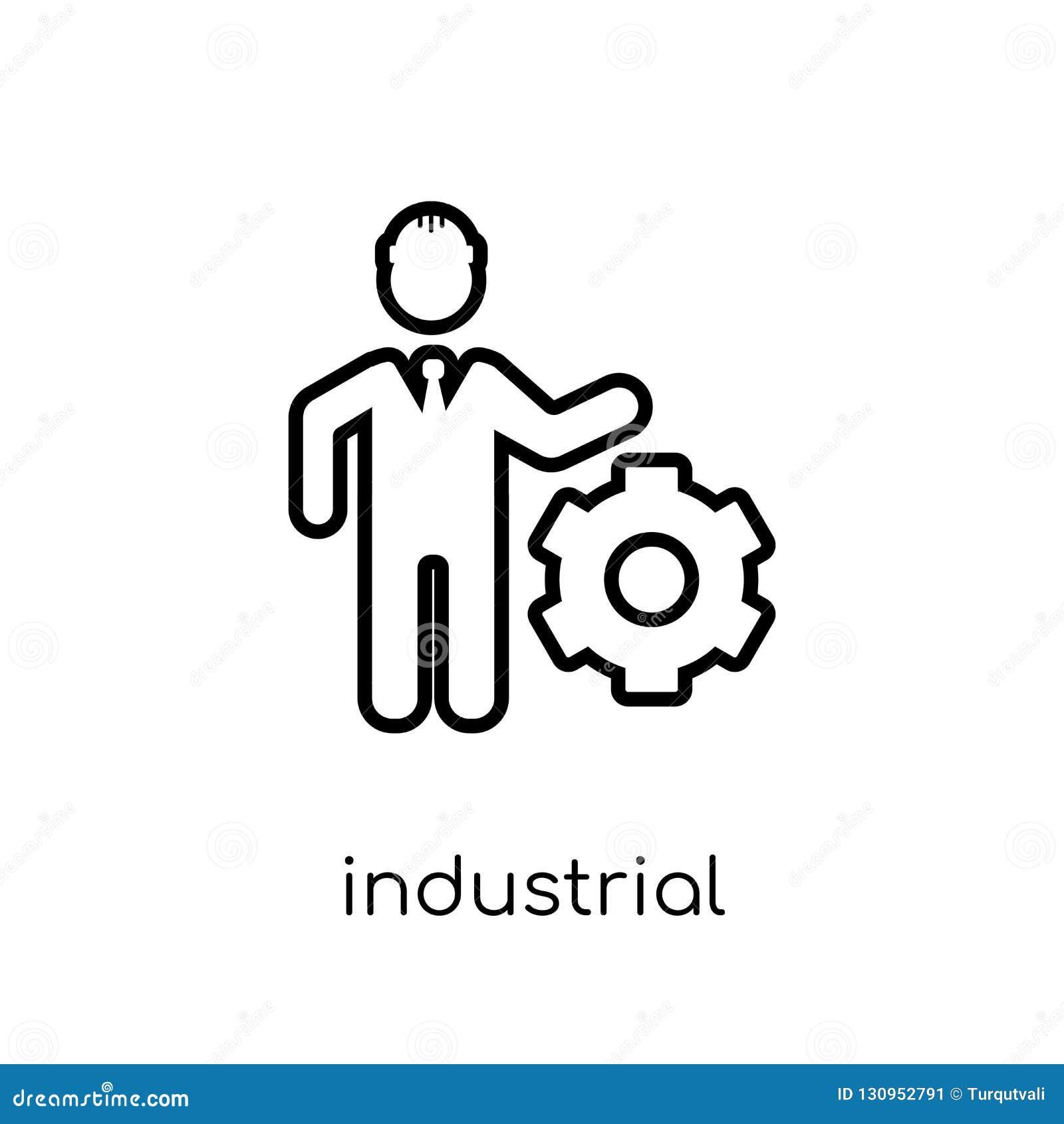 Icono del ingeniero industrial de la colección de la industria