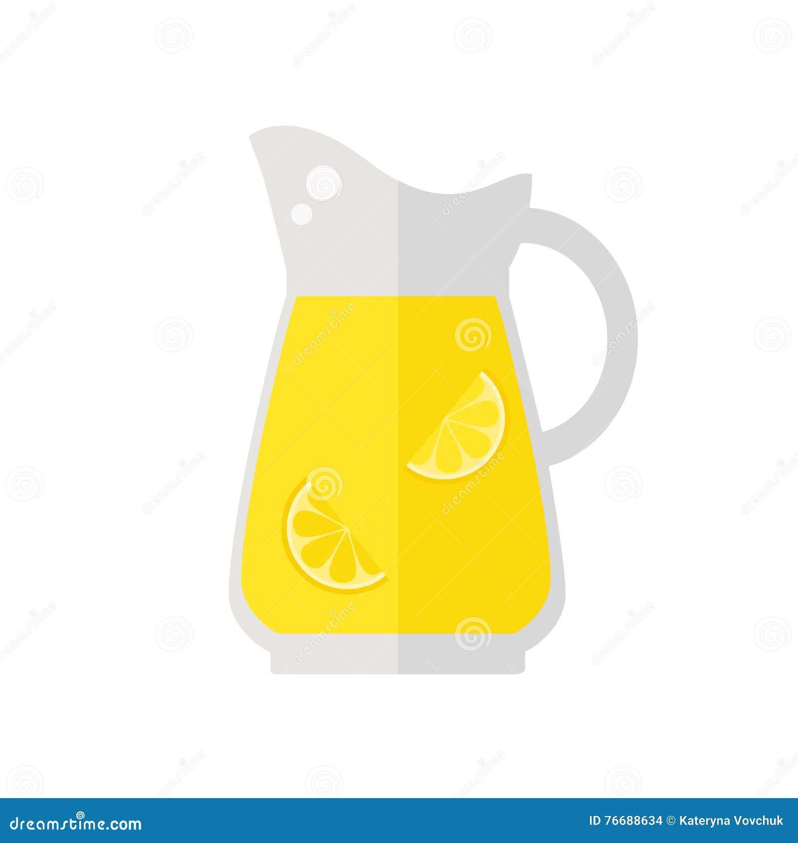 Icono del jarro del jugo de la limonada en el fondo blanco