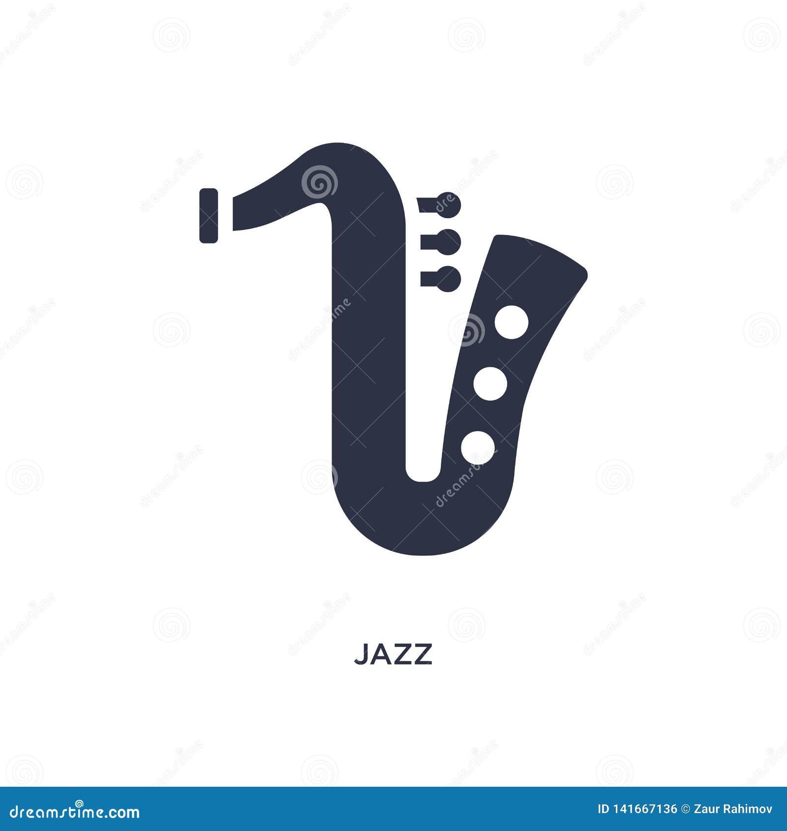 Icono del jazz en el fondo blanco Ejemplo simple del elemento del concepto de la música