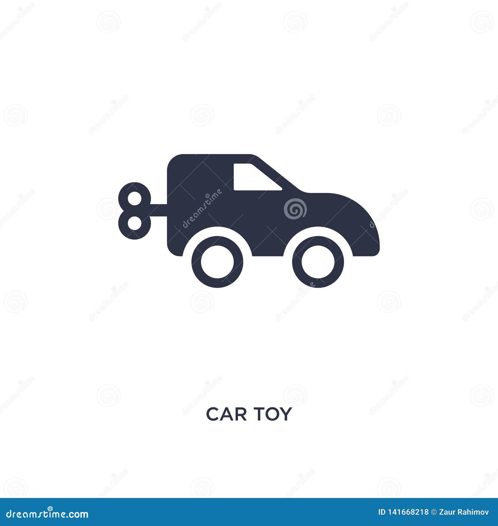 Icono del juguete del coche en el fondo blanco Ejemplo simple del elemento del concepto de los juguetes