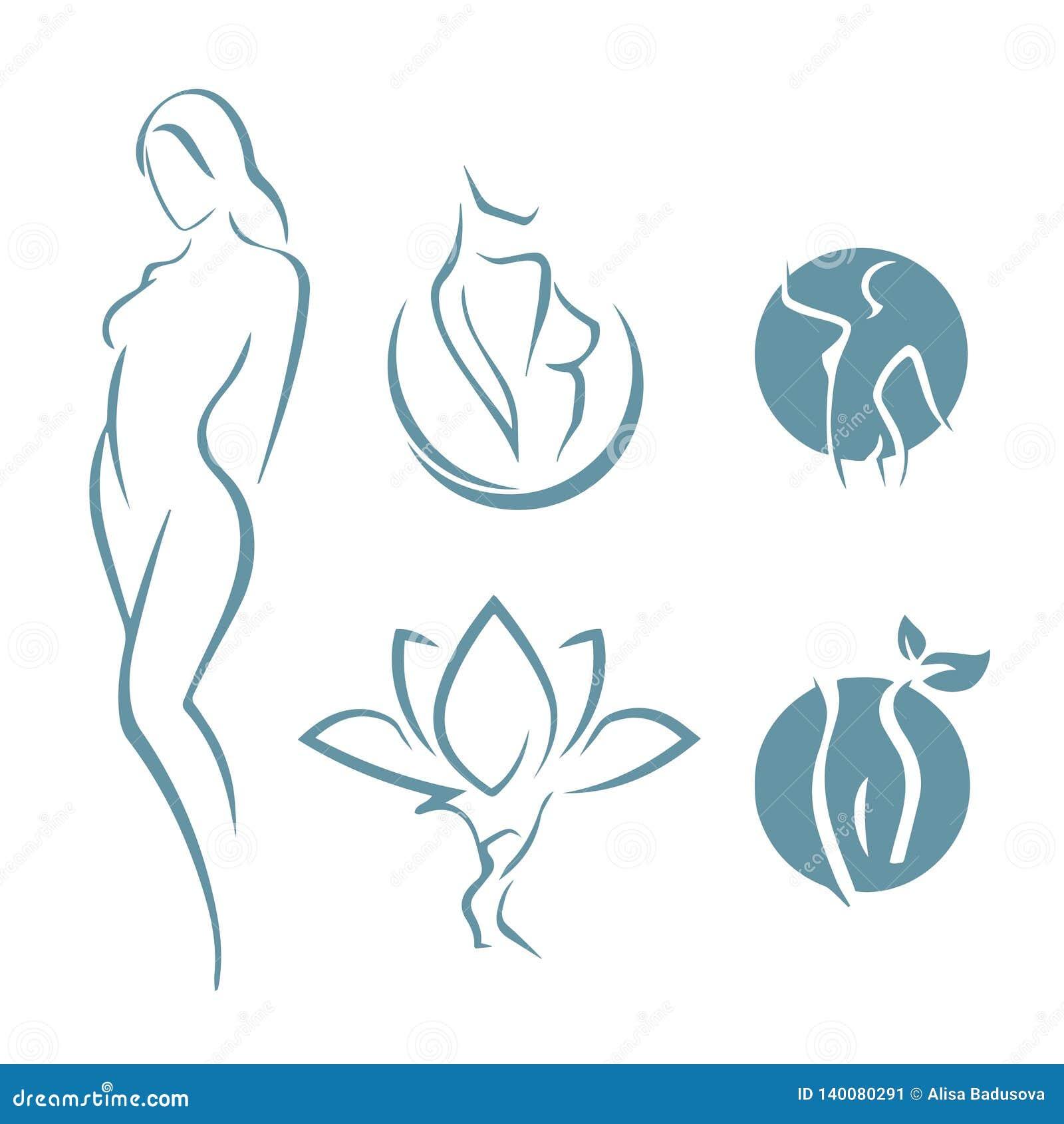 Icono del logotipo de la aptitud de las mujeres Deportes, salud, balneario, yoga, logotipo del vector de la belleza Logotipo de l