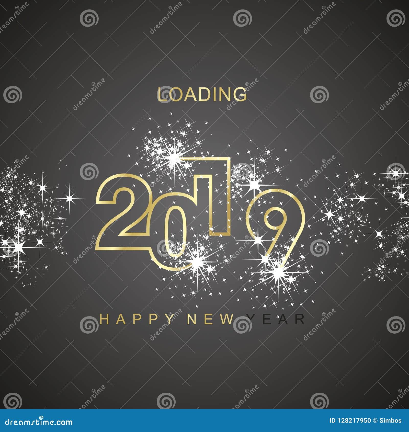Icono 2019 del logotipo del vector del negro del oro del fuego artificial de la chispa del cargamento de la Feliz Año Nuevo