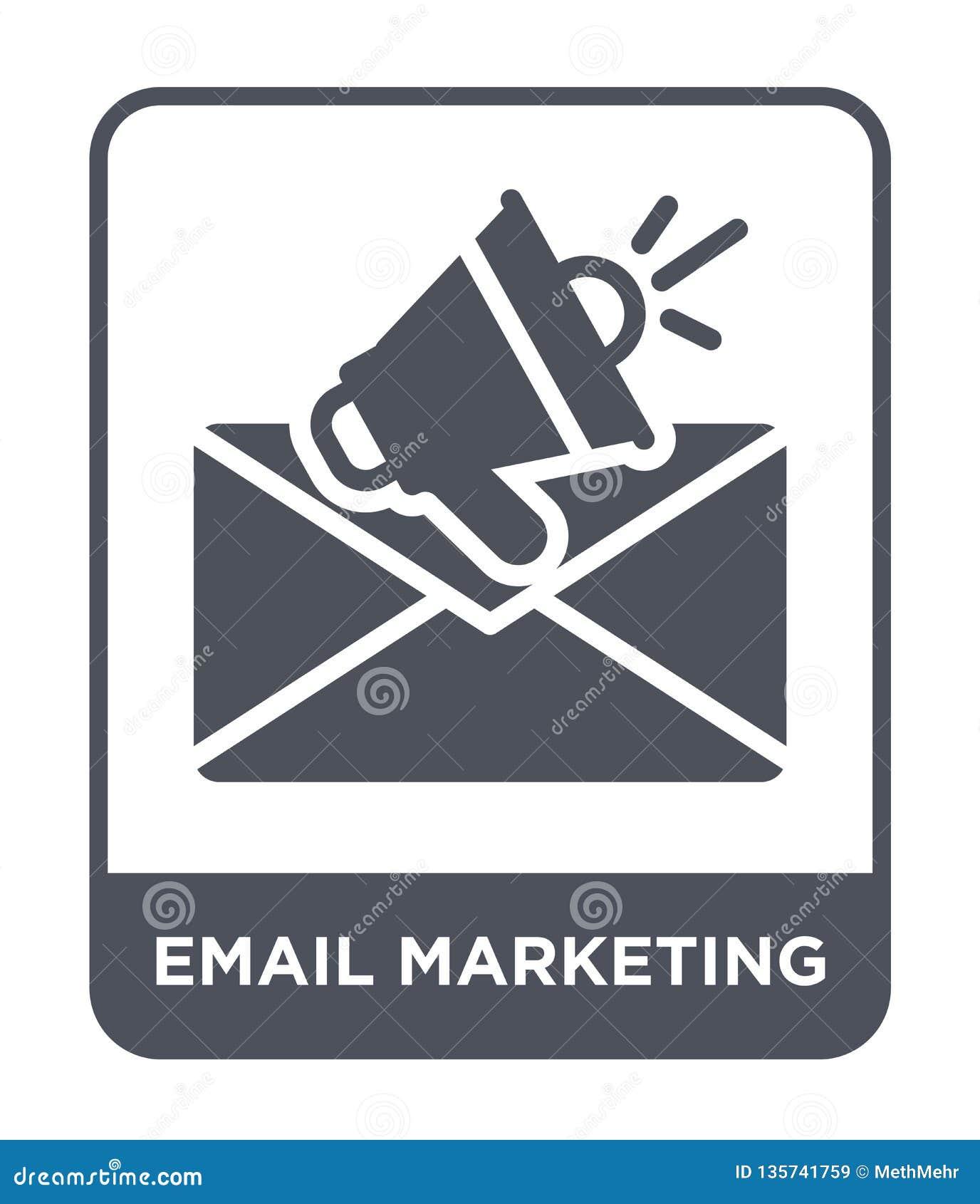 Icono del márketing del correo electrónico en estilo de moda del diseño icono de comercialización del correo electrónico aislado