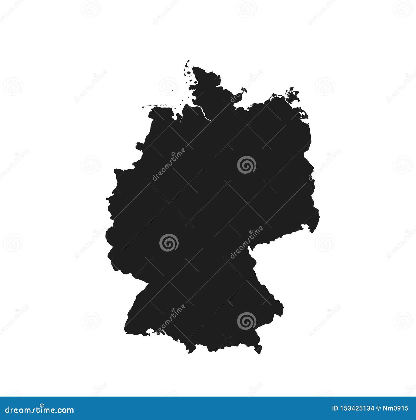 Icono del mapa de Alemania país aislado vector negro de Europa de la imagen de la silueta