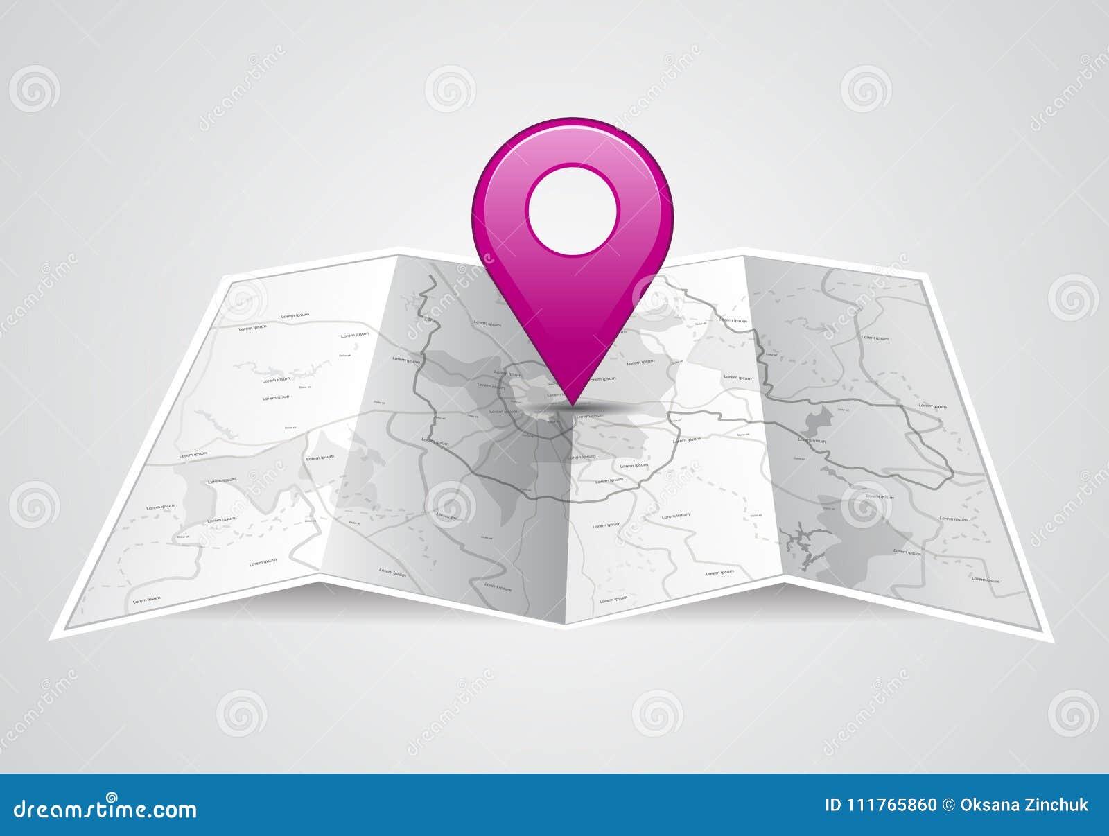 Mapa Plano Con Pin Icono De Puntero De La: Icono Del Mapa Del Vector Con El Puntero Del Pin
