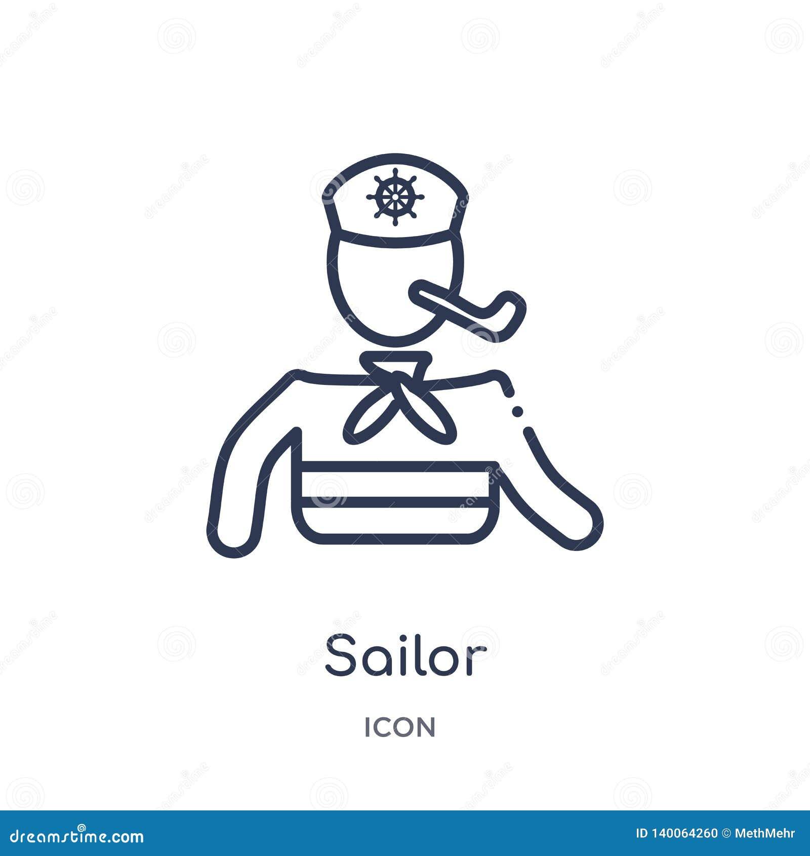 Icono del marinero de la colección náutica del esquema Línea fina icono del marinero aislado en el fondo blanco
