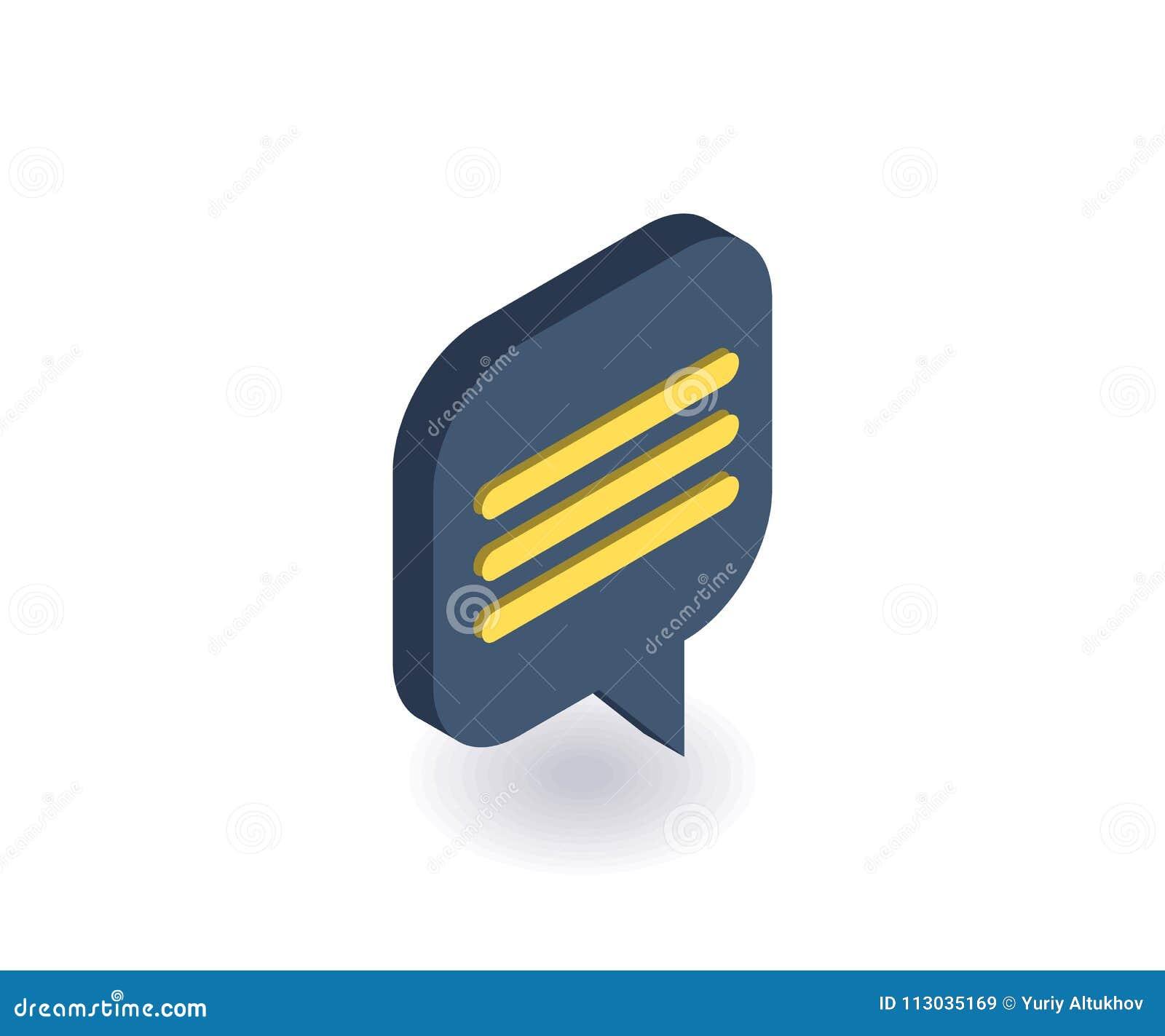 Icono del mensaje, ejemplo del vector en el estilo isométrico plano 3D