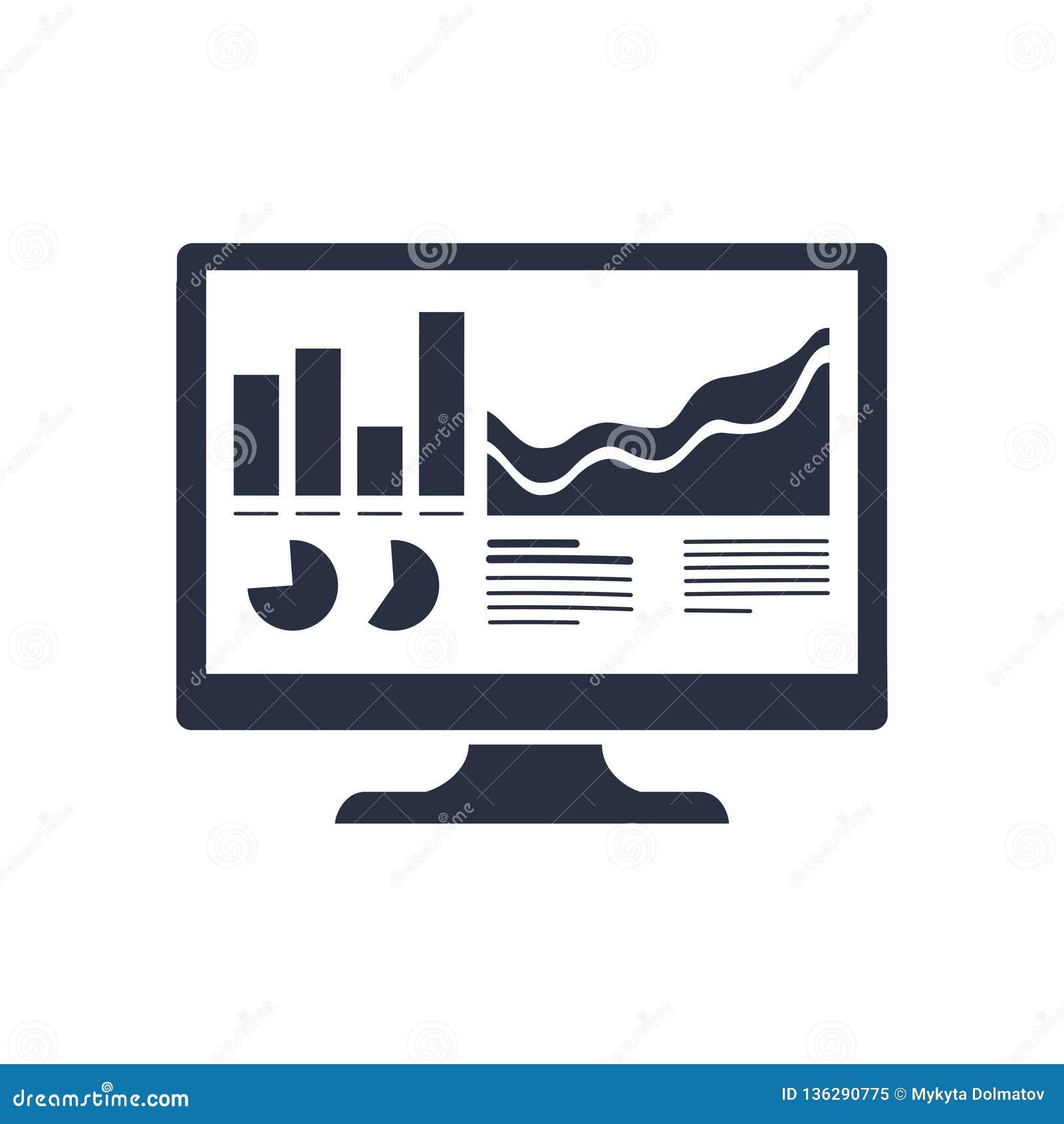 Icono del monitor del Analytics Los Analytics planos de moda del vector supervisan el icono en fondo transparente del analytics d