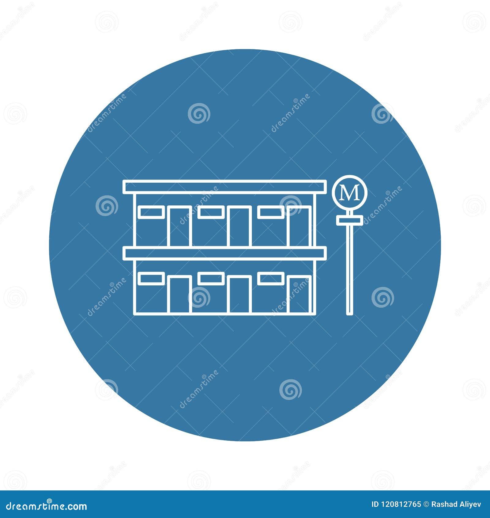Icono del motel del borde de la carretera Elemento de los iconos del hotel para los apps móviles del concepto y del web El icono