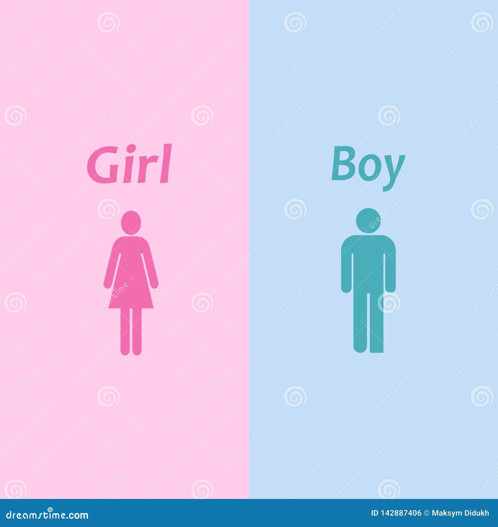 Icono del muchacho y de la muchacha Hombre de la silueta de mujer Ilustración del vector EPS 10