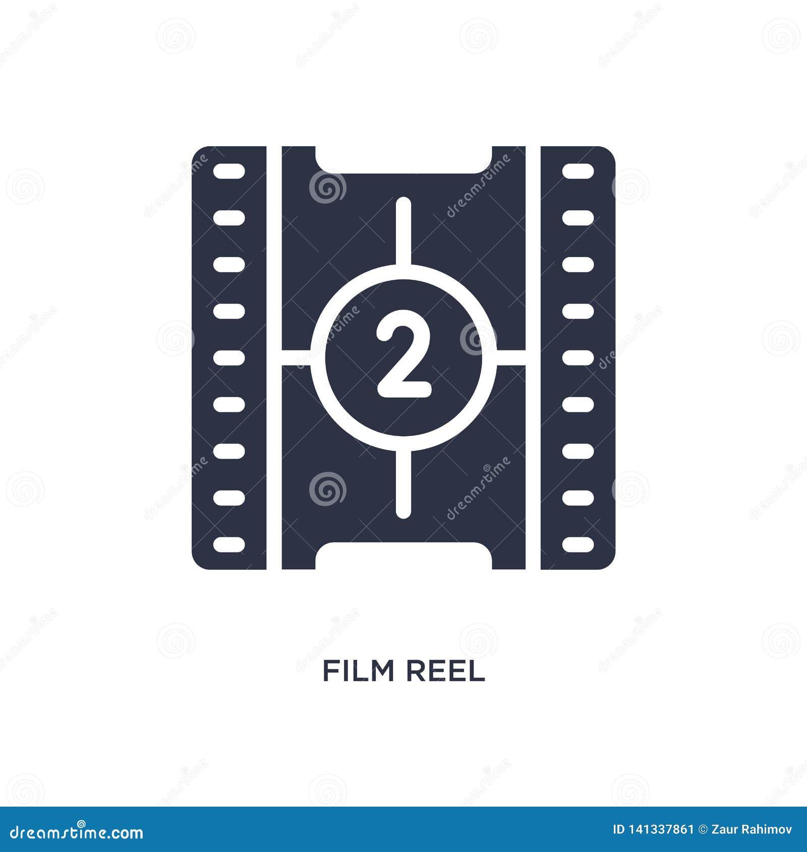 Icono del número 2 de la cuenta descendiente del rollo de película en el fondo blanco Ejemplo simple del elemento del concepto de