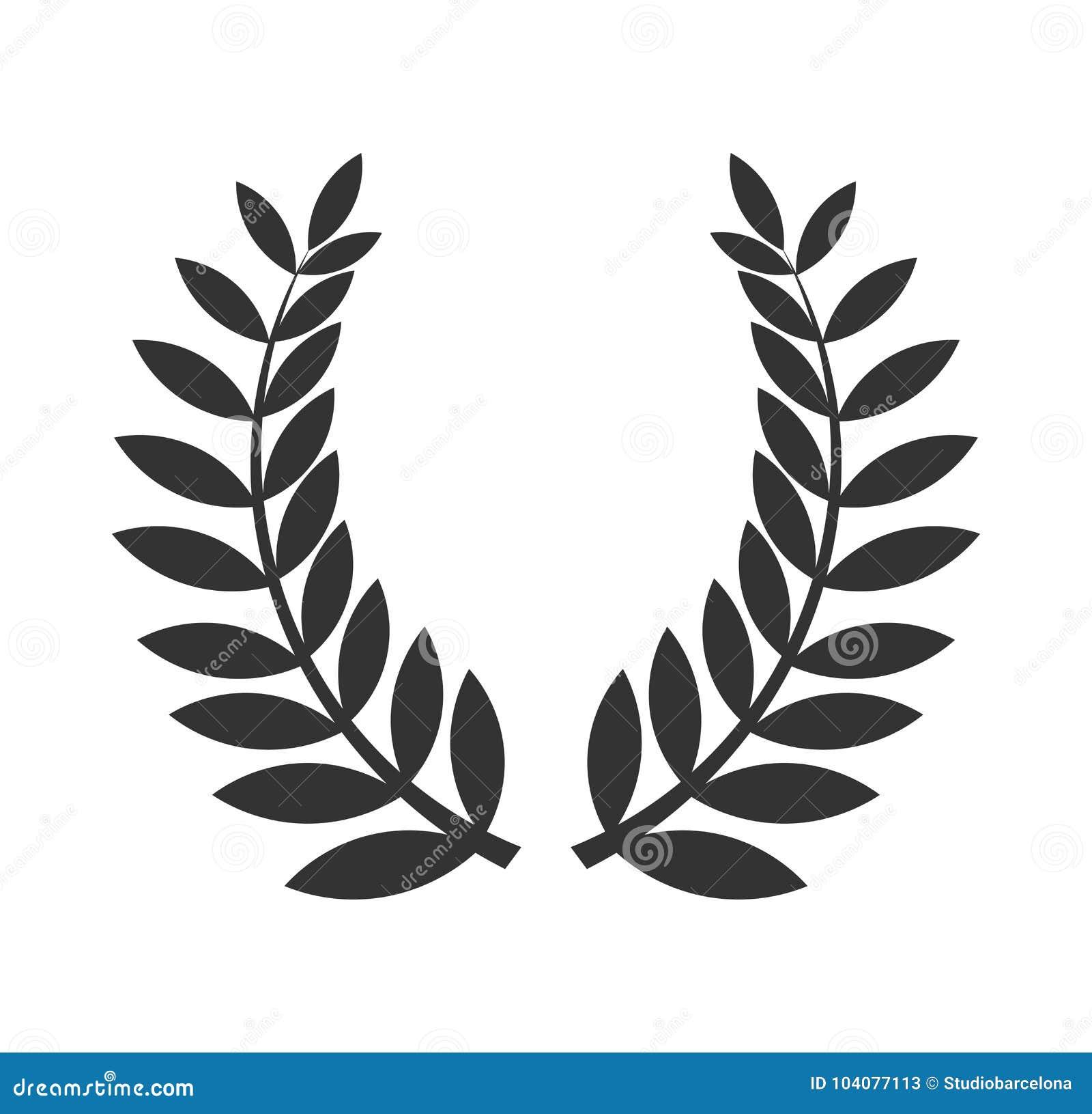 Icono del negro de la guirnalda del laurel
