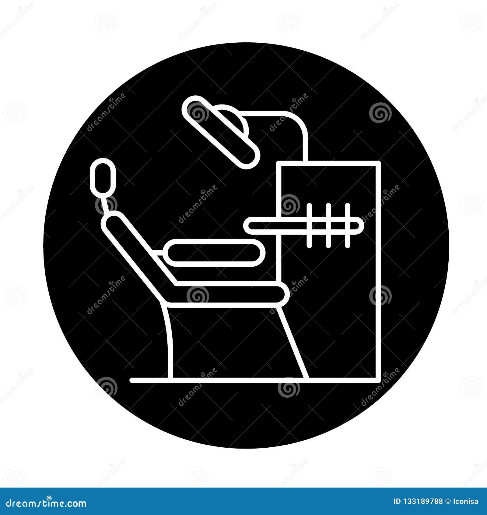 Icono del negro de la oficina del dentista, muestra del vector en fondo aislado Símbolo del concepto de la oficina del dentista,