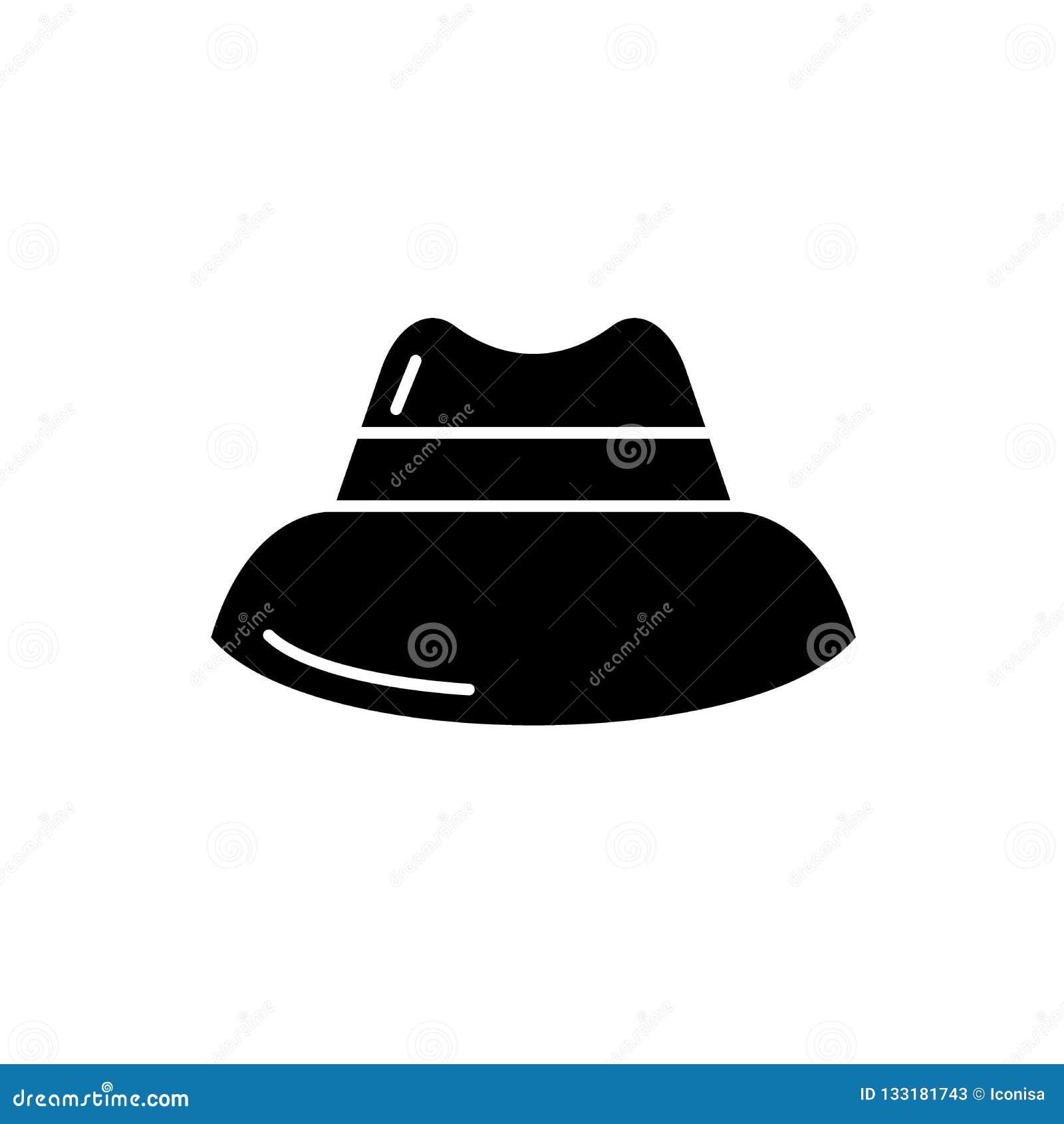 Icono del negro del sombrero de los hombres, muestra del vector en fondo aislado Símbolo del concepto del sombrero de los hombres