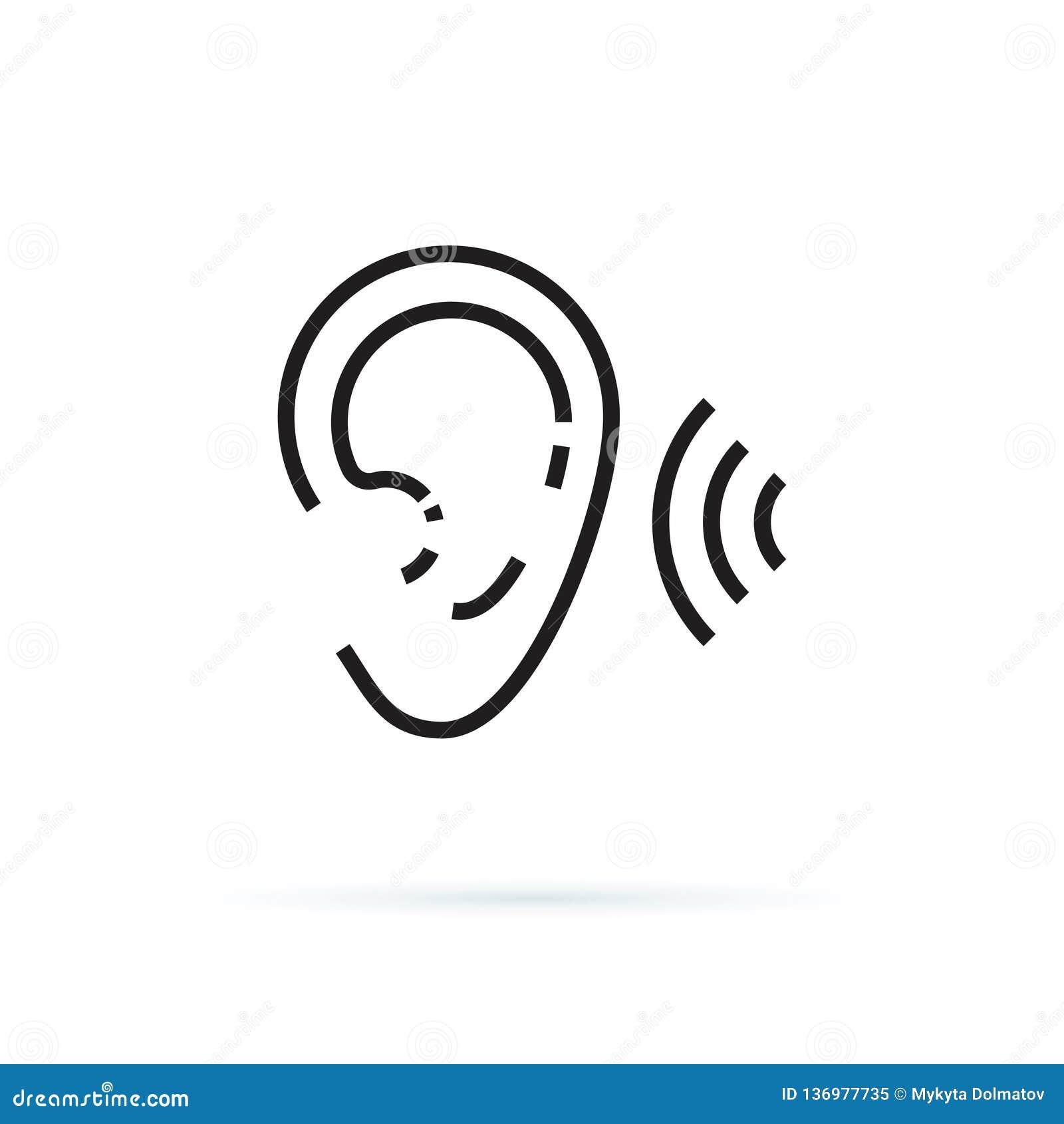 Icono del oído, muestra linear de la audiencia aislada en el ejemplo editable eps10 del vector del fondo blanco Oiga la atención
