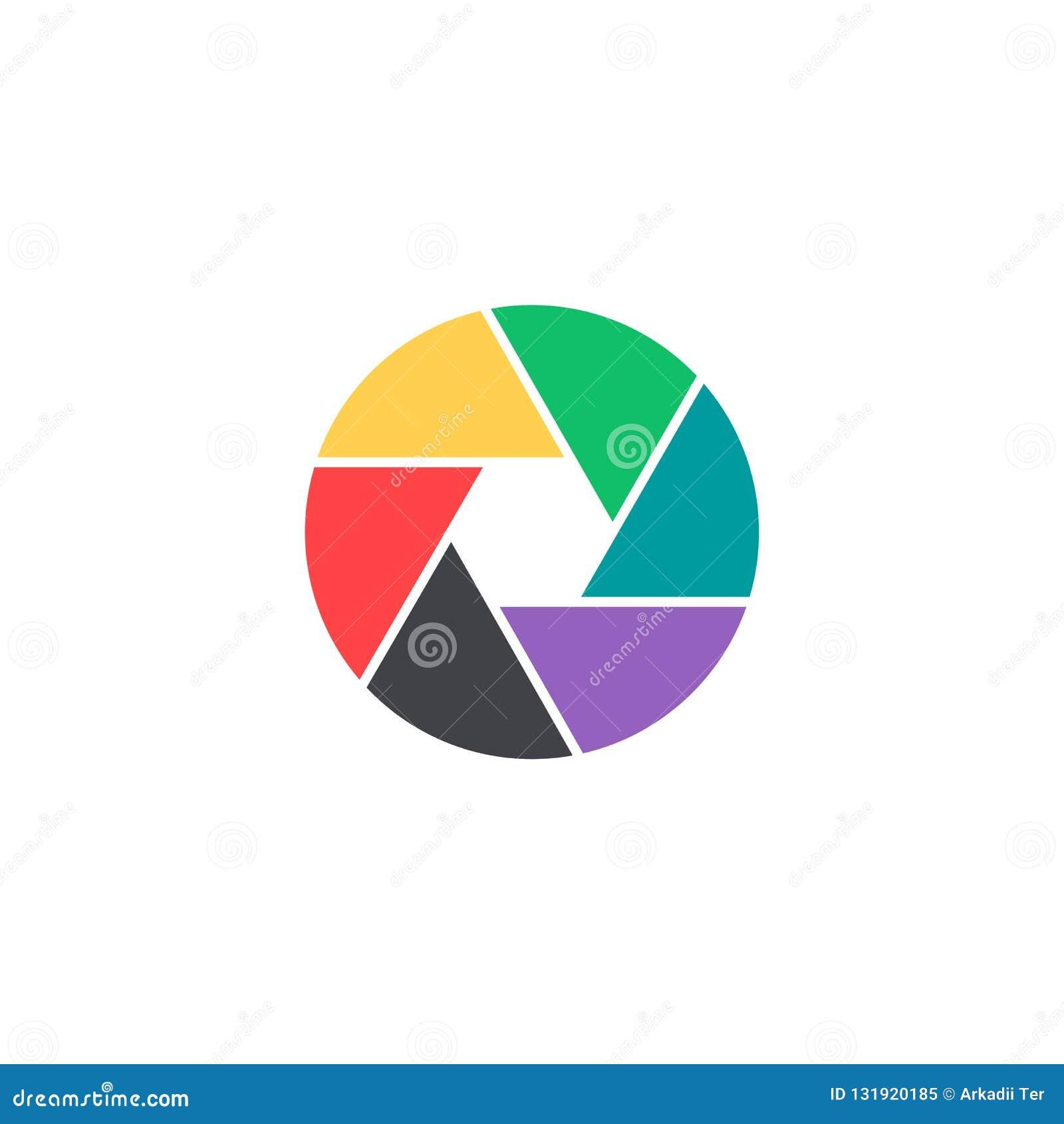 Icono del obturador del vector El símbolo colorido de la cámara aisló Botón del interfaz Elemento para el app móvil o la página w