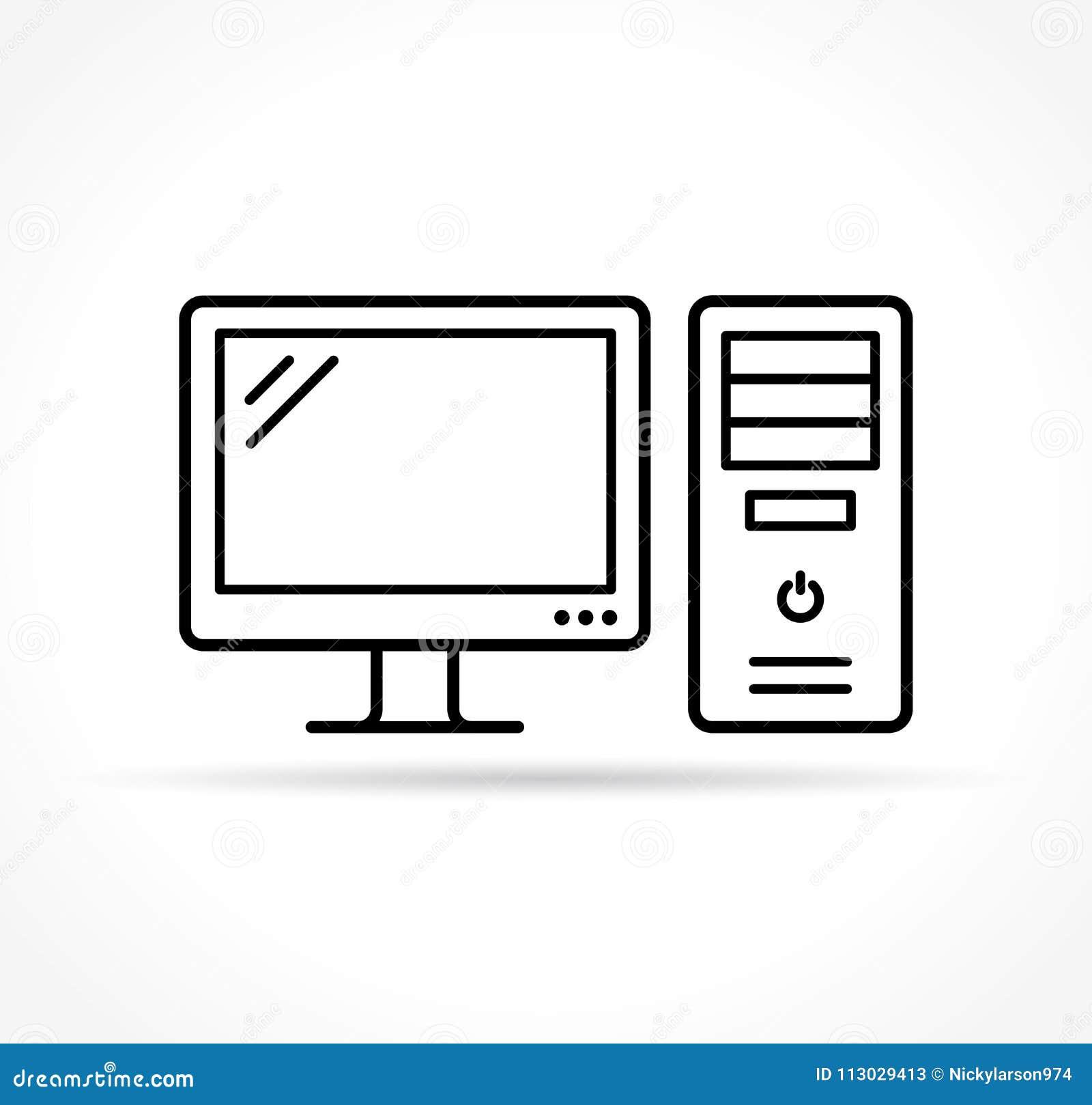 Icono del ordenador en el fondo blanco