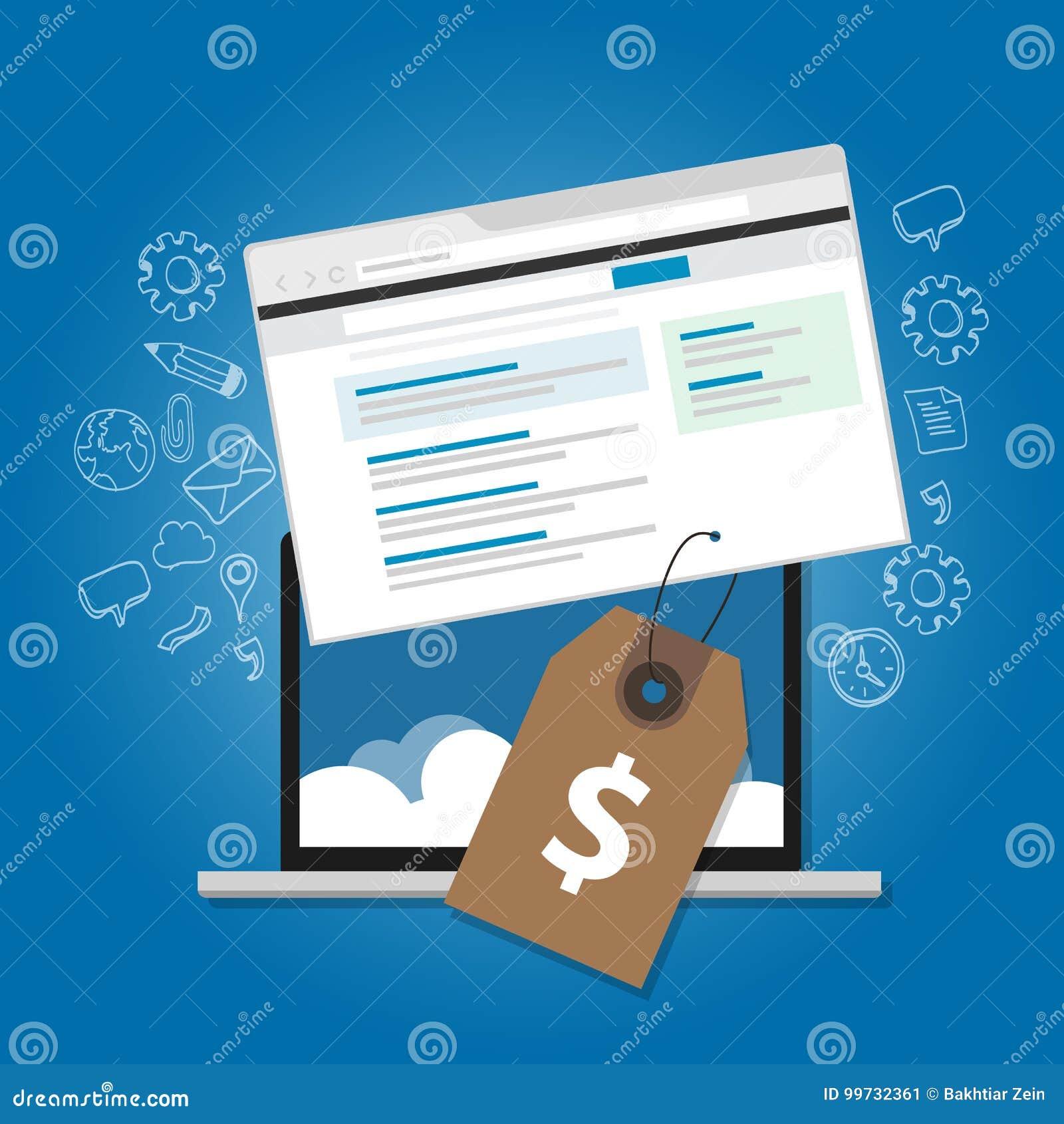 Icono del ordenador portátil del ejemplo de los anuncios del precio del vale del web del servicio de publicidad online de la tasa