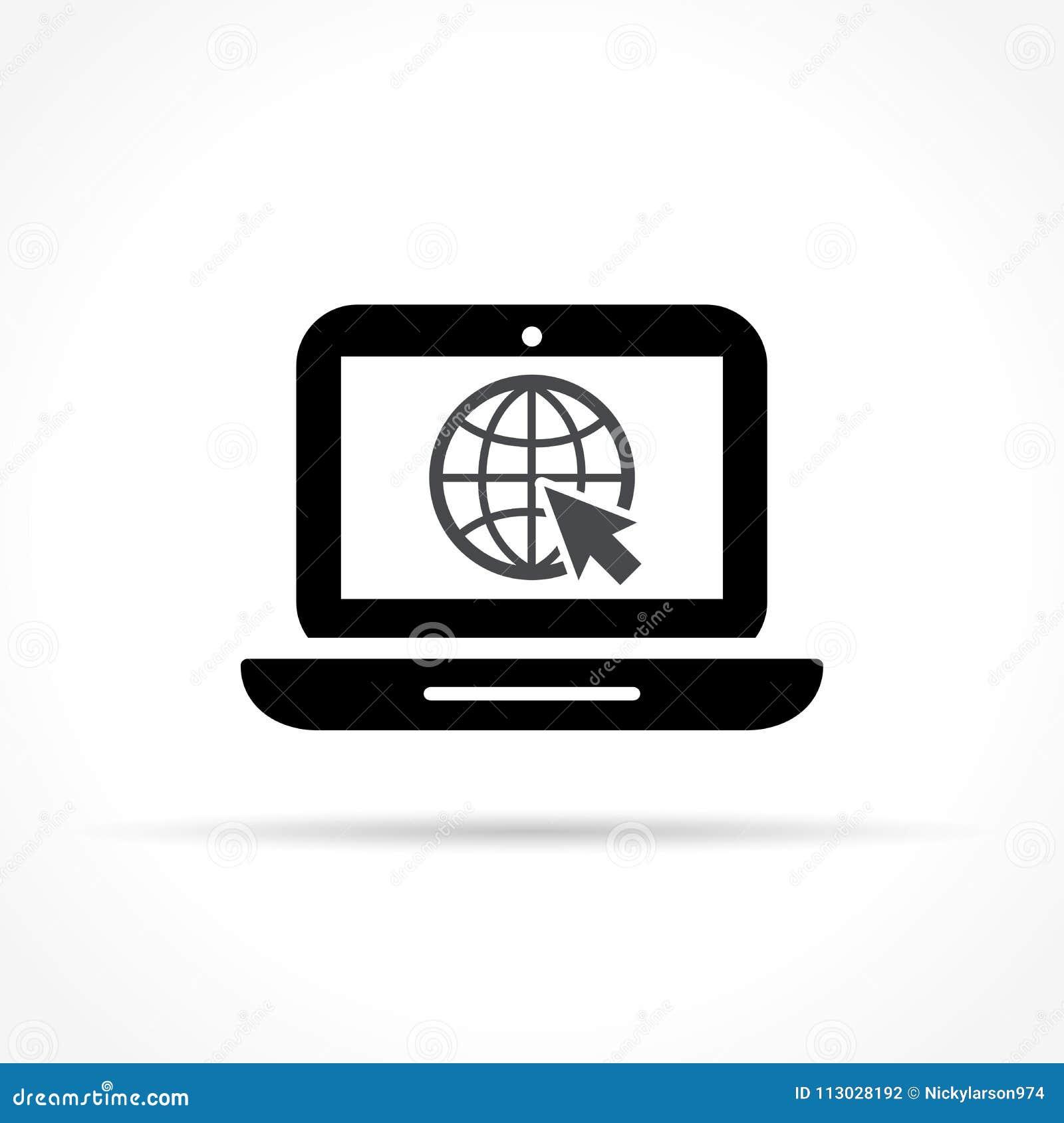 Icono del ordenador portátil en el fondo blanco