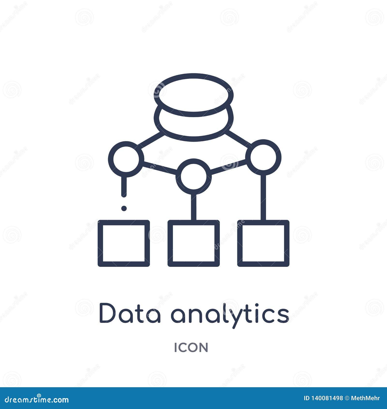 Icono del organigrama del analytics de los datos de la colección del esquema de la interfaz de usuario Línea fina icono del organ