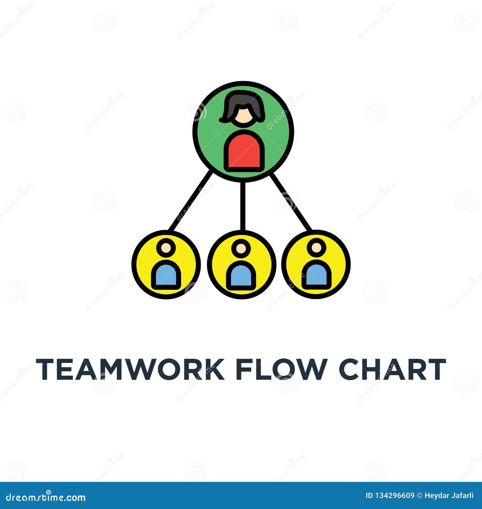 Icono Del Organigrama Del Trabajo En Equipo Jerarquía Del