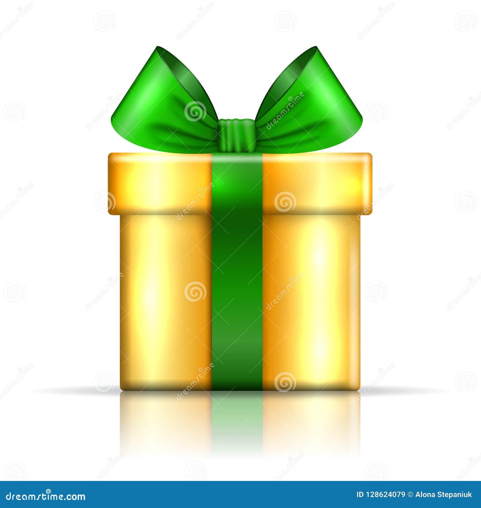 Icono del oro de la caja de regalo Sorprenda la actual plantilla, arco de la cinta, fondo blanco aislado decoración del diseño 3D