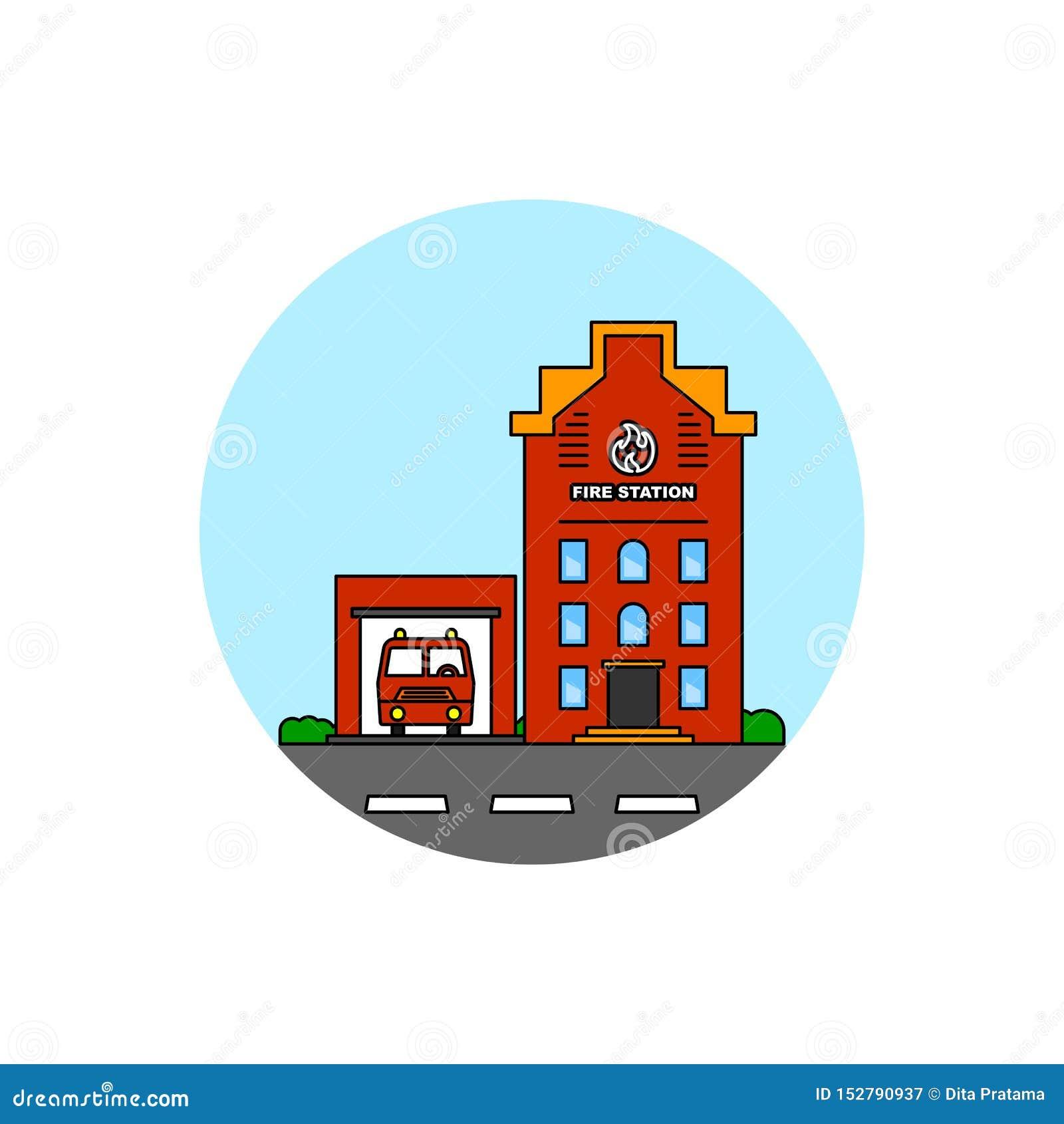 Icono del paisaje urbano del edificio del resque del fuego