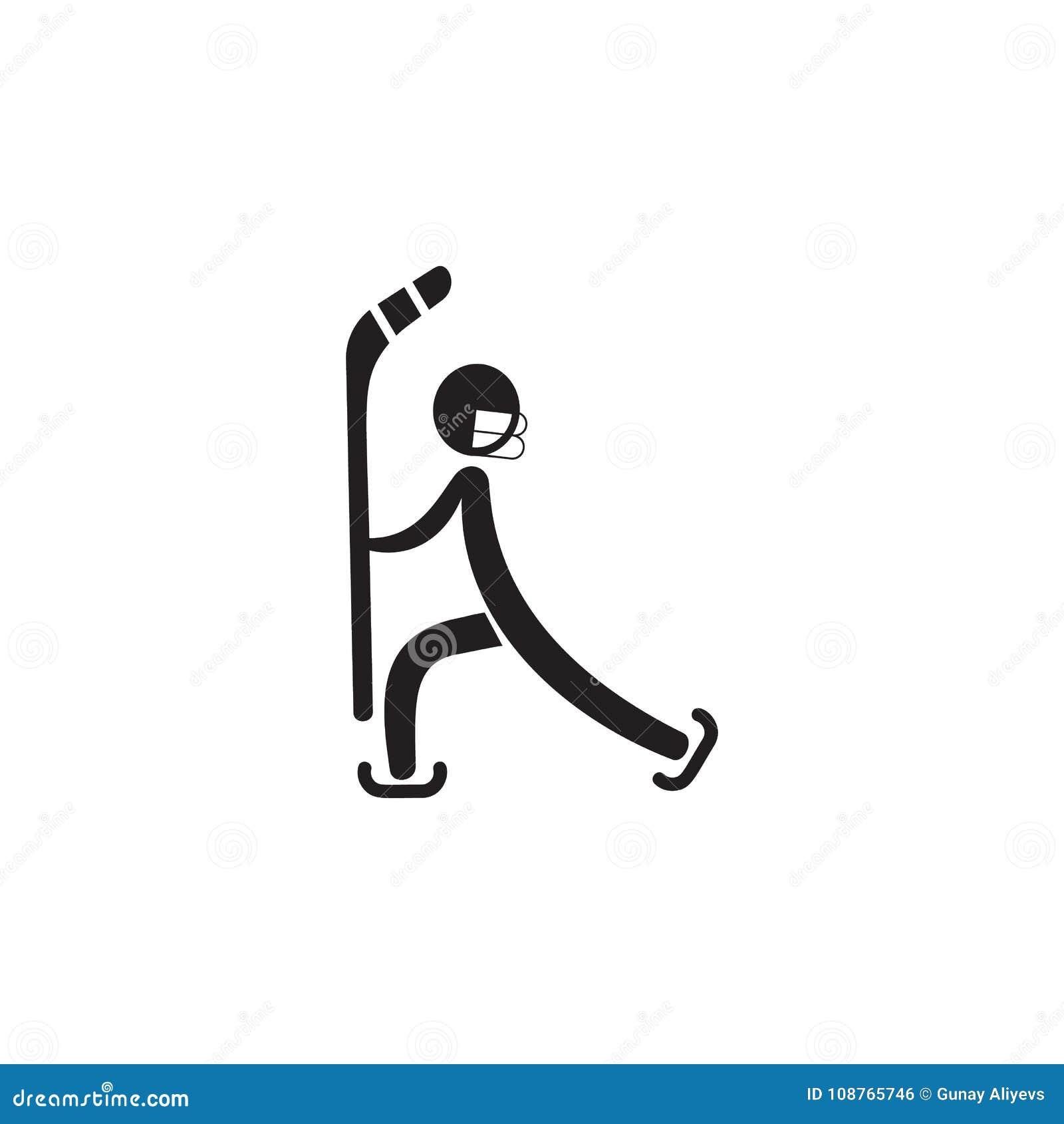 Icono del palillo de hockey Elemento de figuras del icono del deportista Icono superior del diseño gráfico de la calidad Muestras