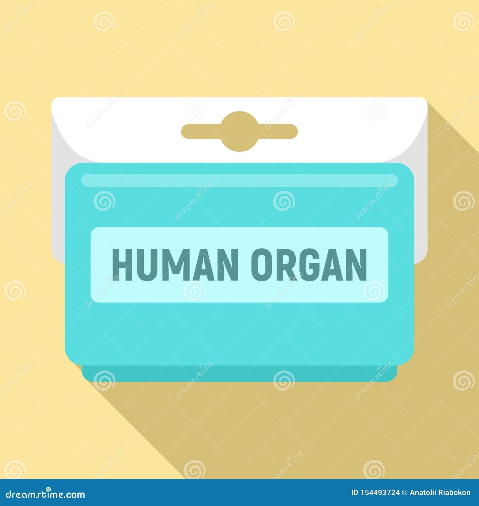 Icono del paquete del órgano humano, estilo plano