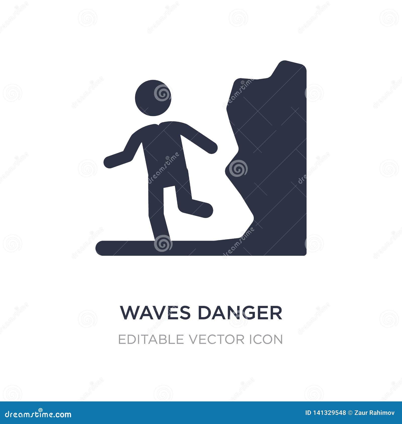 Icono del peligro de las ondas en el fondo blanco Ejemplo simple del elemento del concepto de la gente