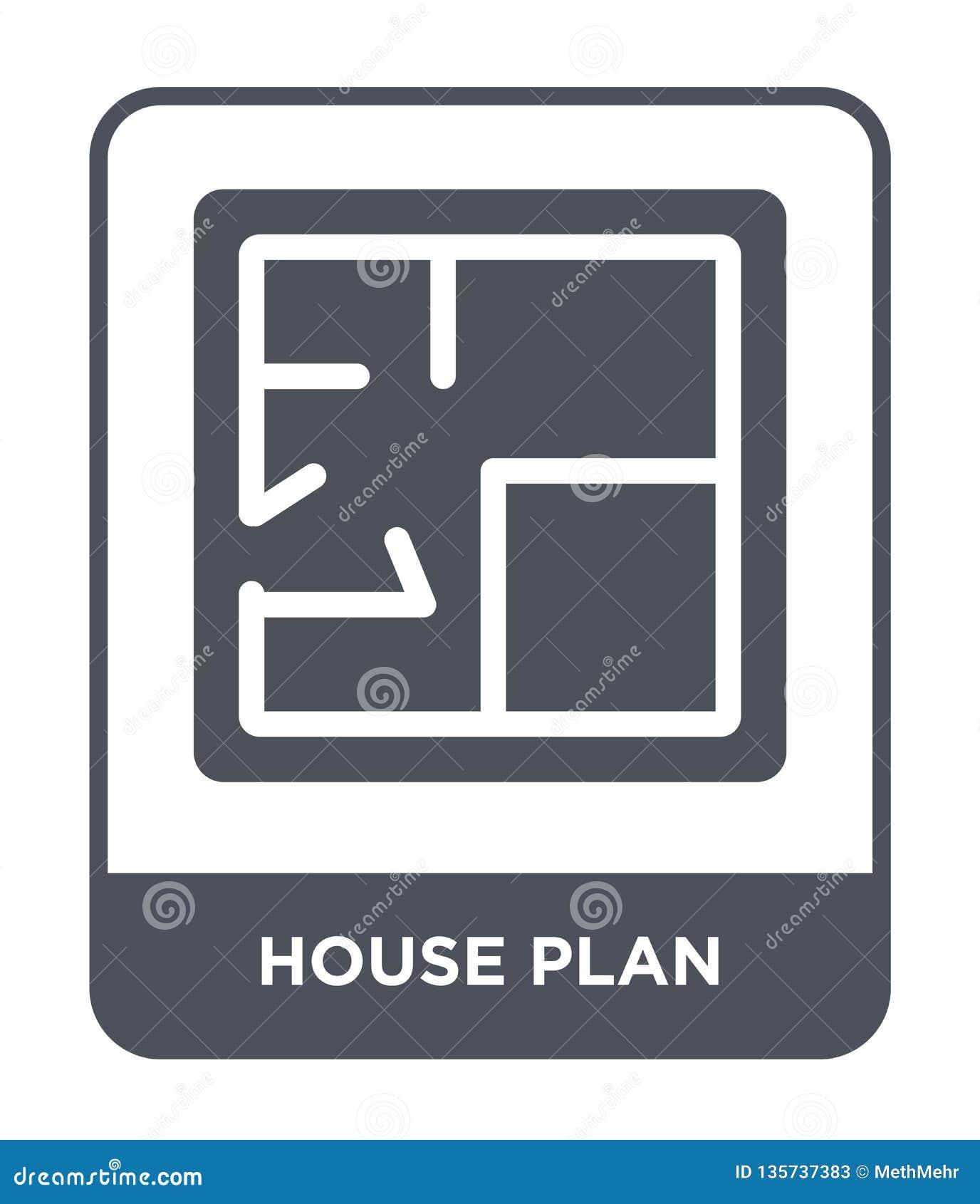 Icono del plan de la casa en estilo de moda del diseño icono del plan de la casa aislado en el fondo blanco icono del vector del