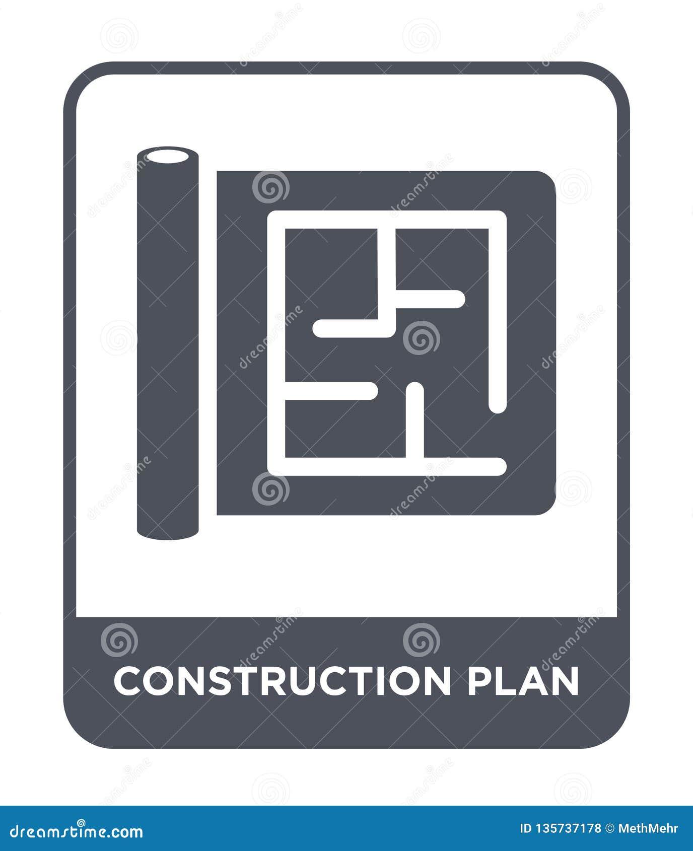 Icono del plan de la construcción en estilo de moda del diseño icono del plan de la construcción aislado en el fondo blanco icono