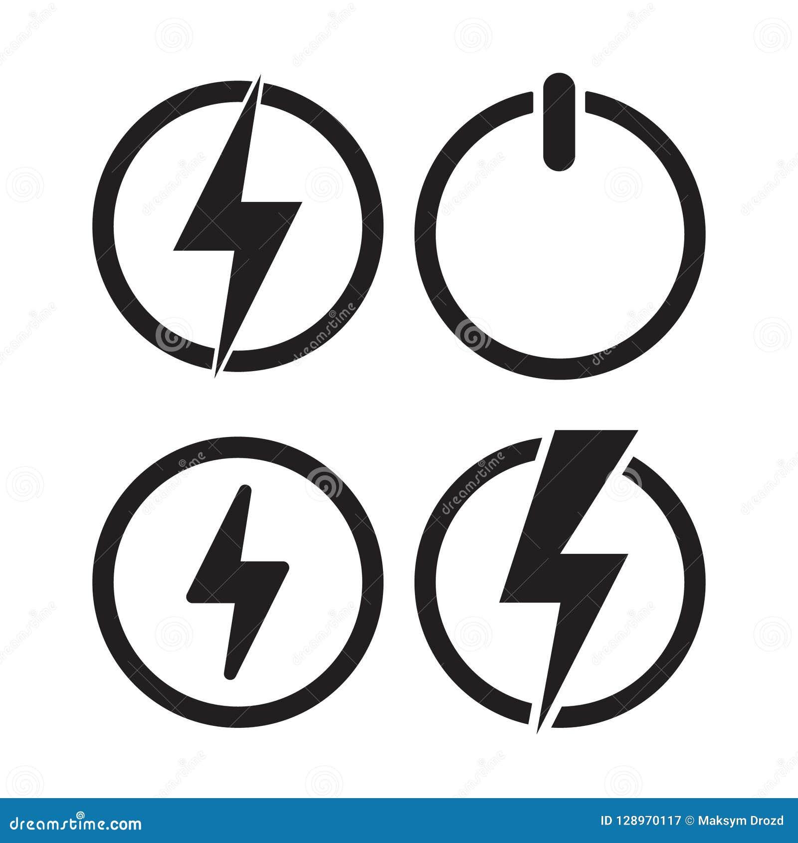 Icono del poder, icono eléctrico Vector