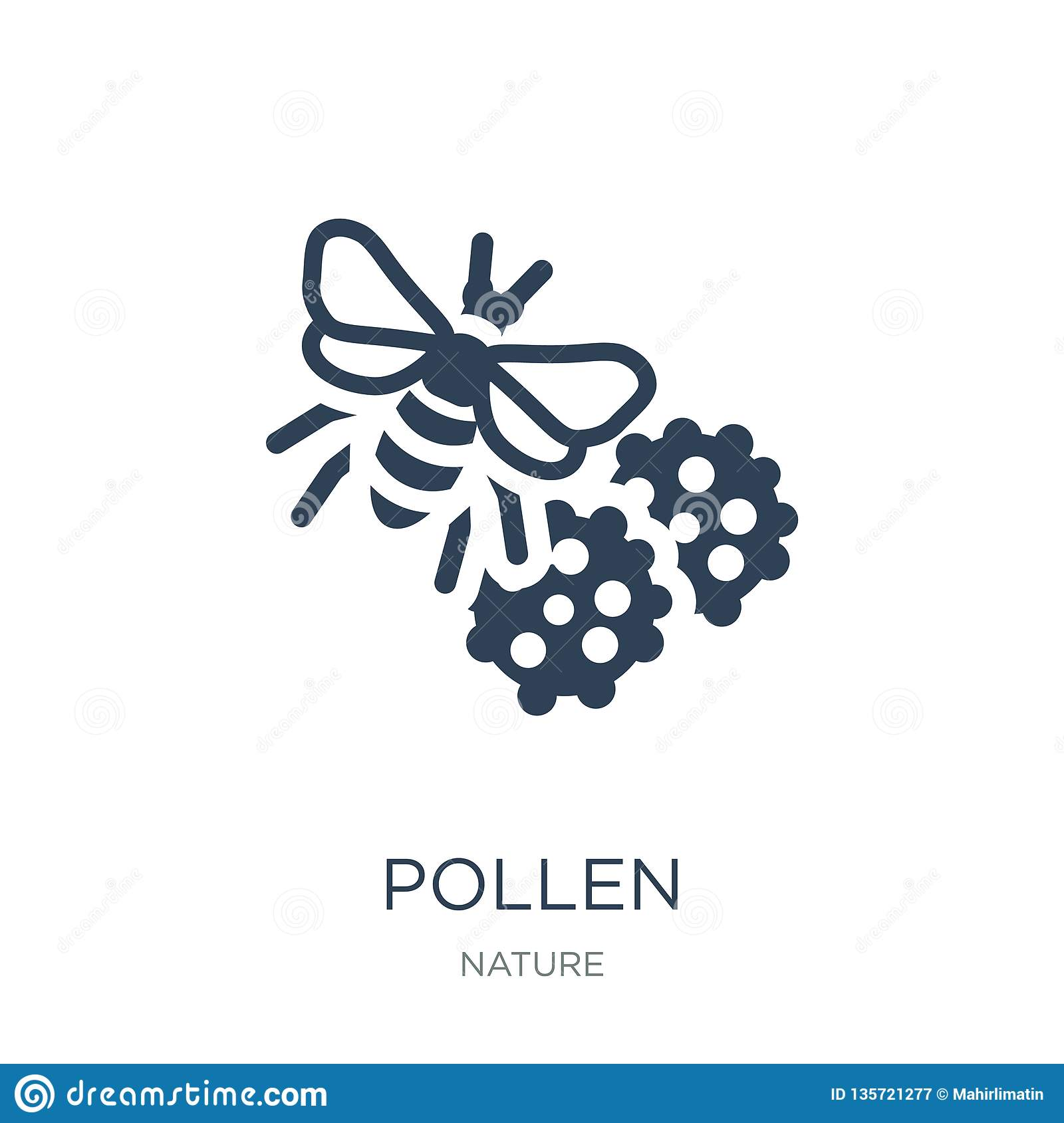 Icono del polen en estilo de moda del diseño icono del polen aislado en el fondo blanco símbolo plano simple y moderno del icono
